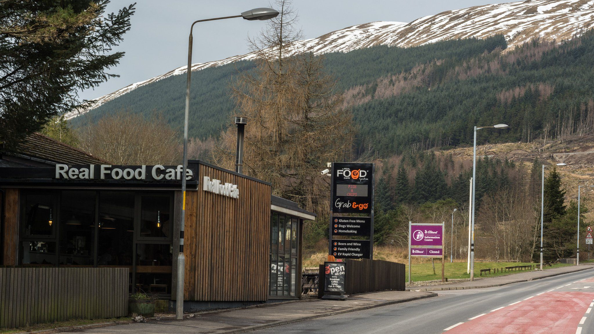 The Real Food cafe, Tyndrum with snowy mountain in the distance