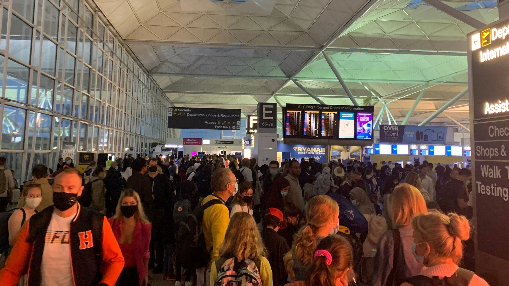 Crowds at London Stansted Airport on Saturday