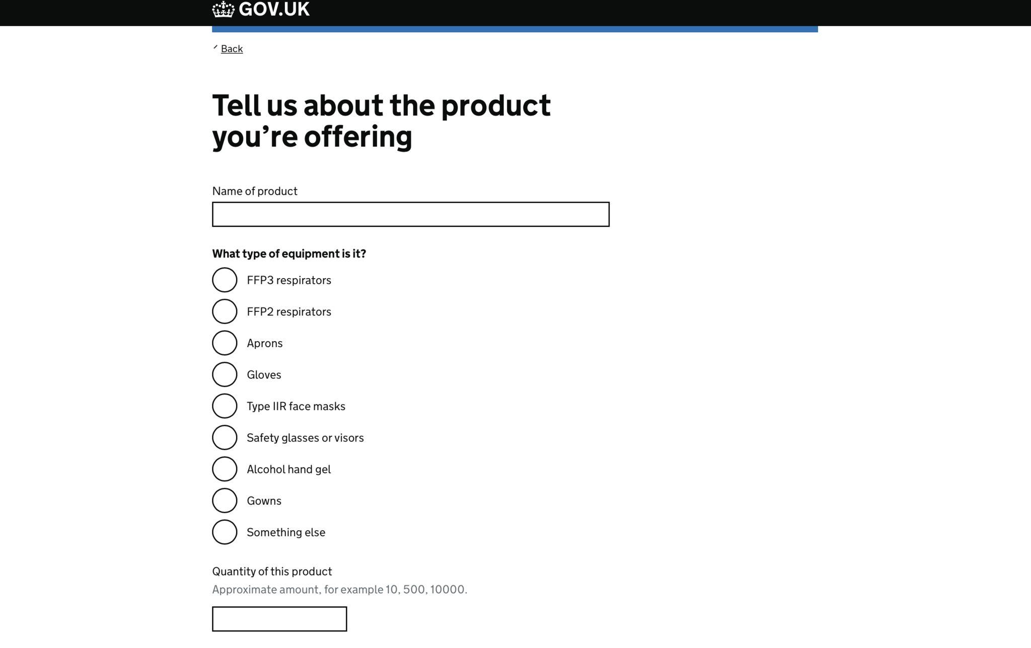 Screenshot of the online survey