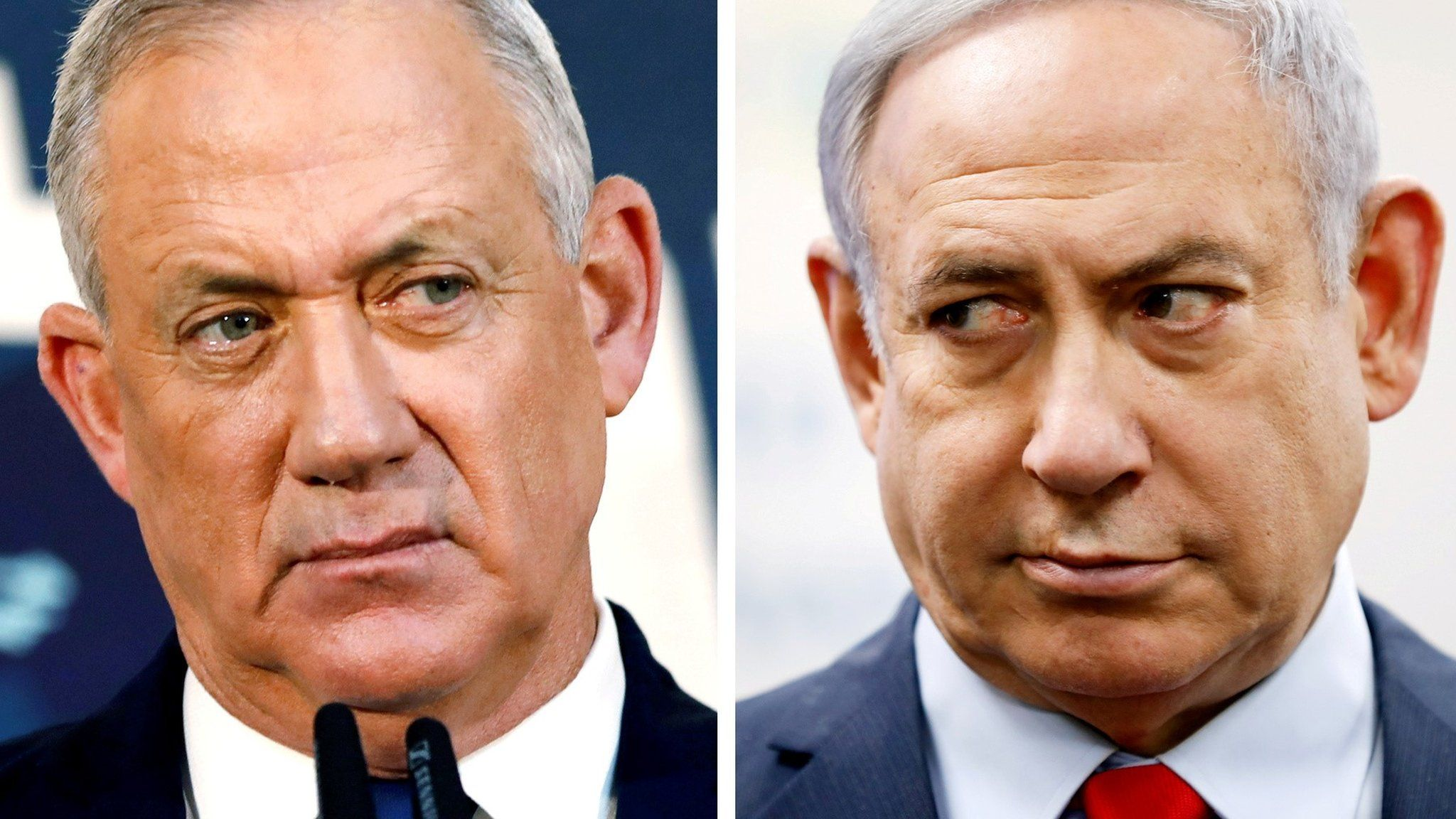 File photos of Benny Gantz (left) and Benjamin Netanyahu (right)