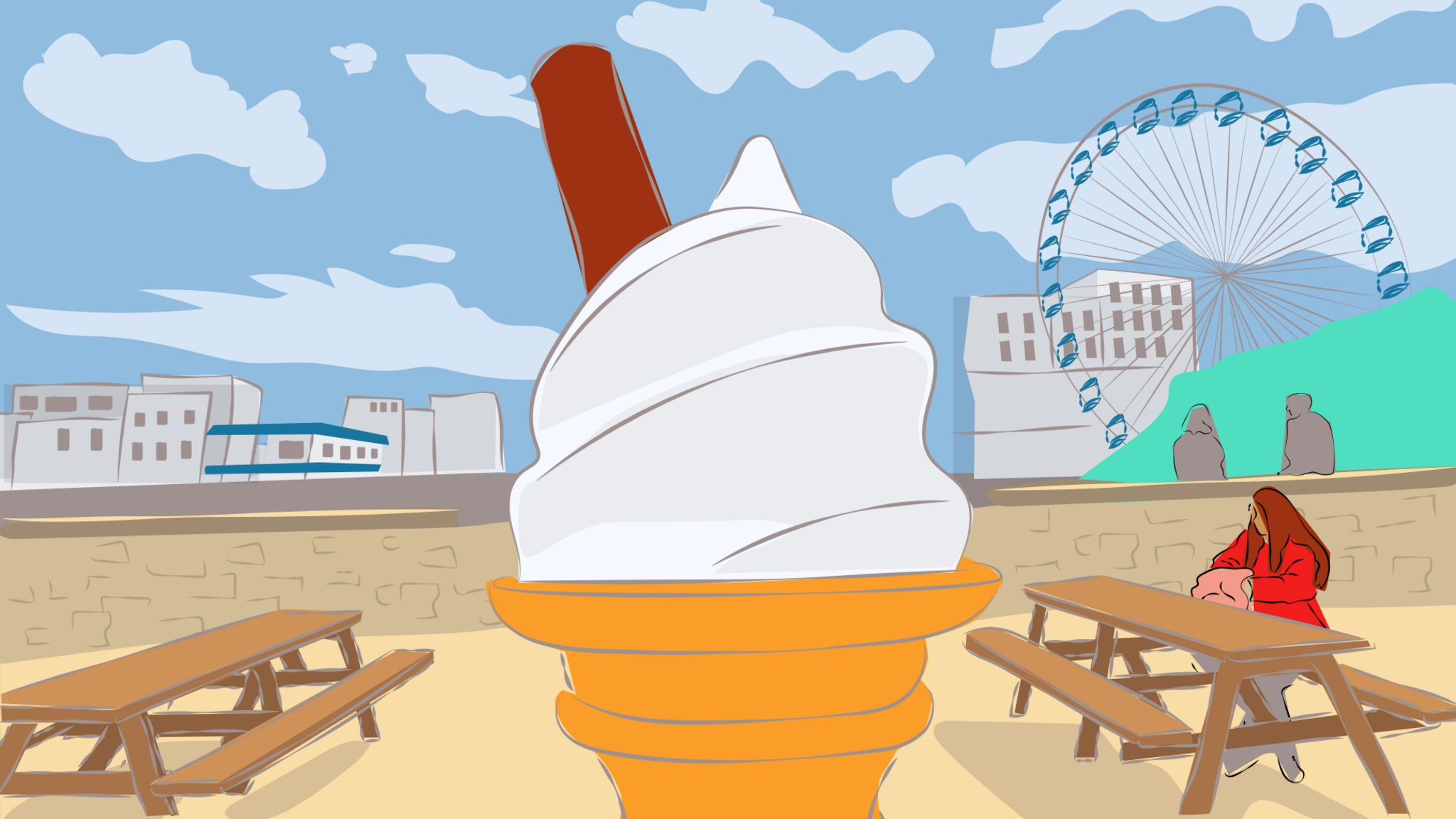 Illustration of an ice cream at the British seaside