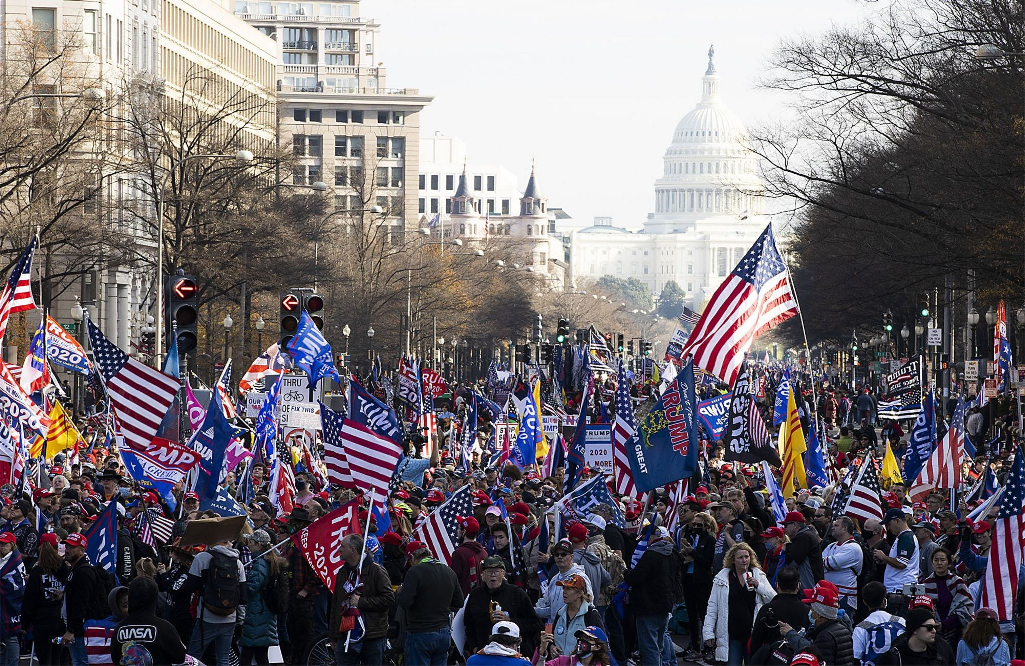 People gather in support of President Donald Trump, Washington, 12 December 2020