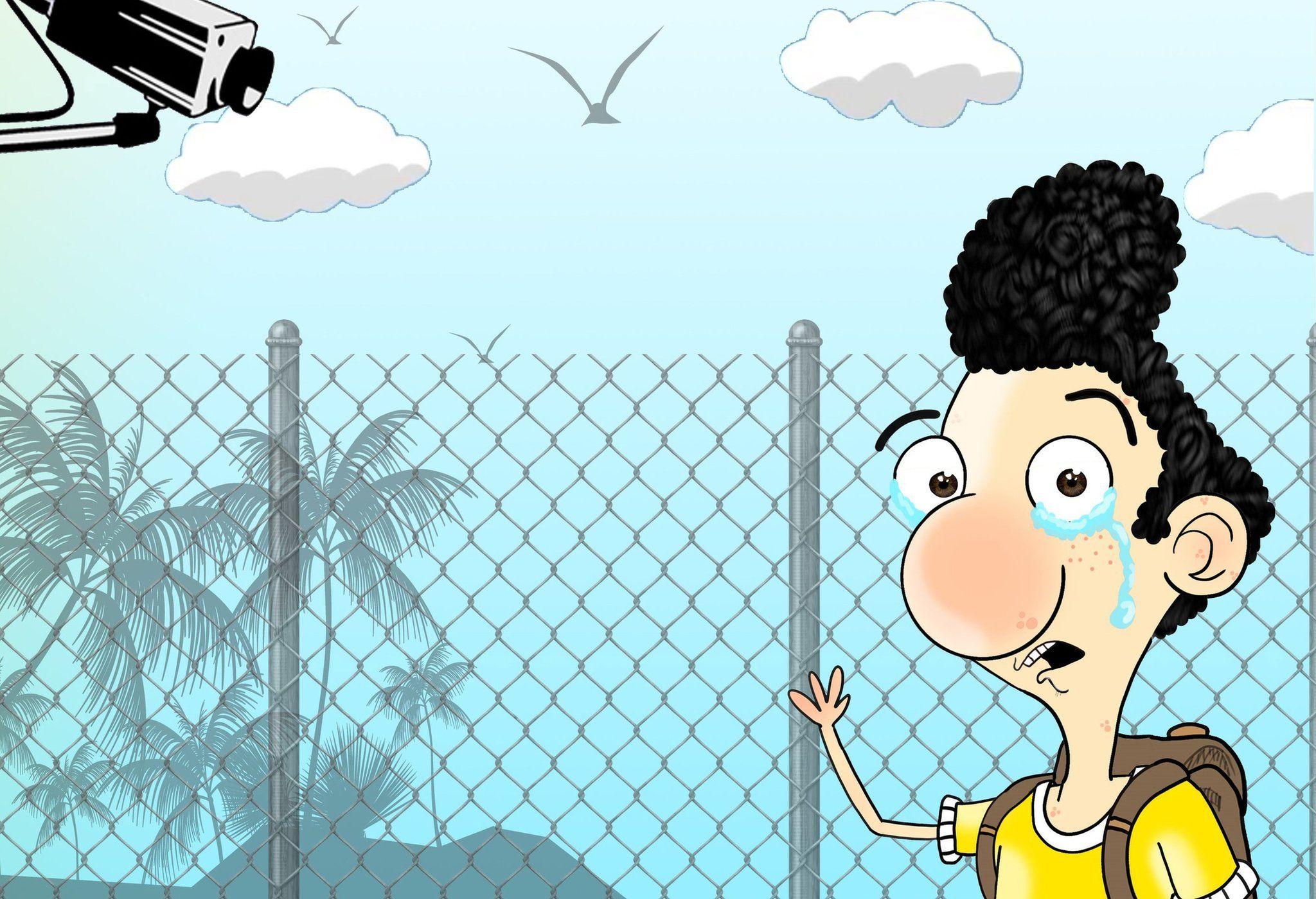Cartoon showing Ali Dorani at Manus Island, with tears in his eyes