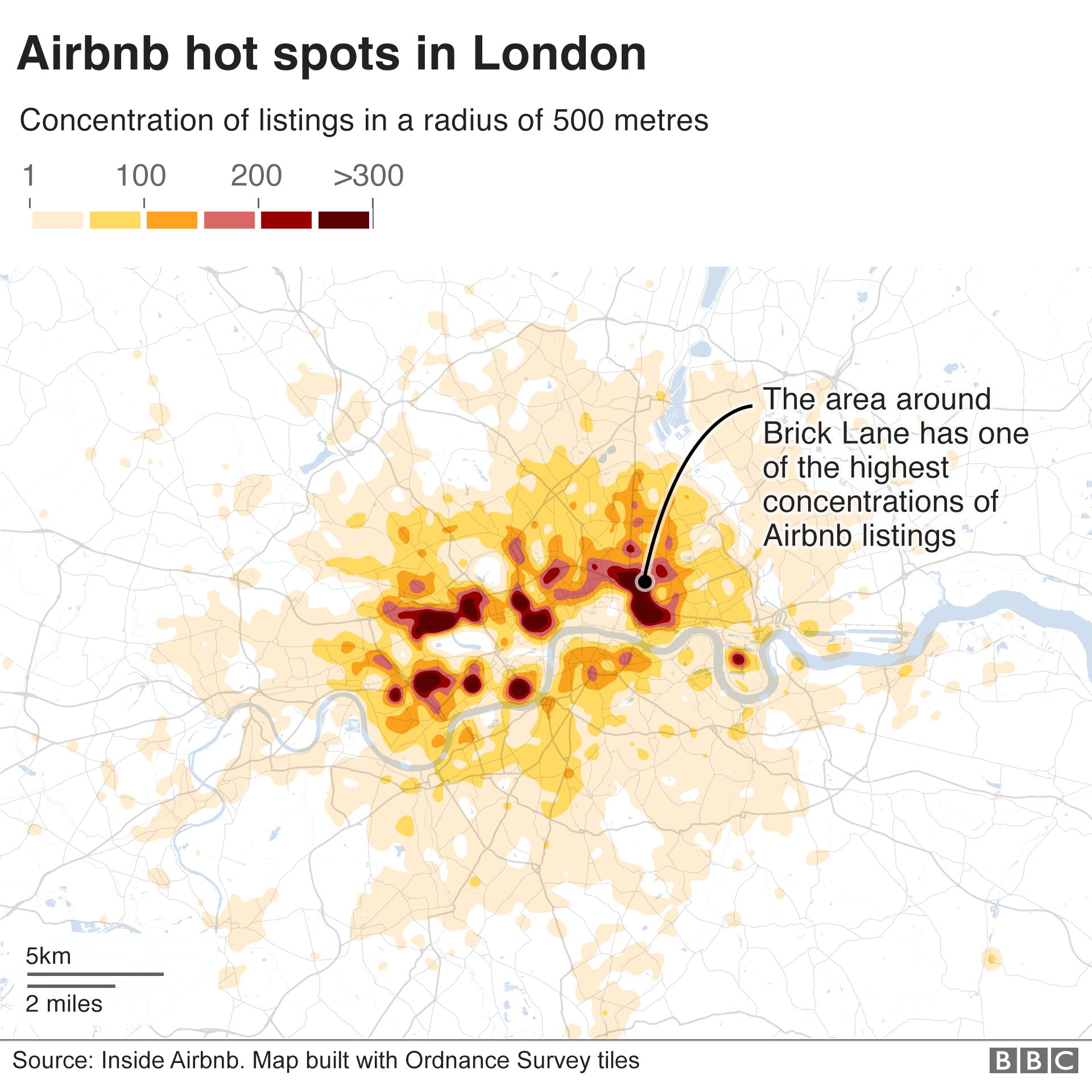 Map showing the London areas with most Airbnb listings