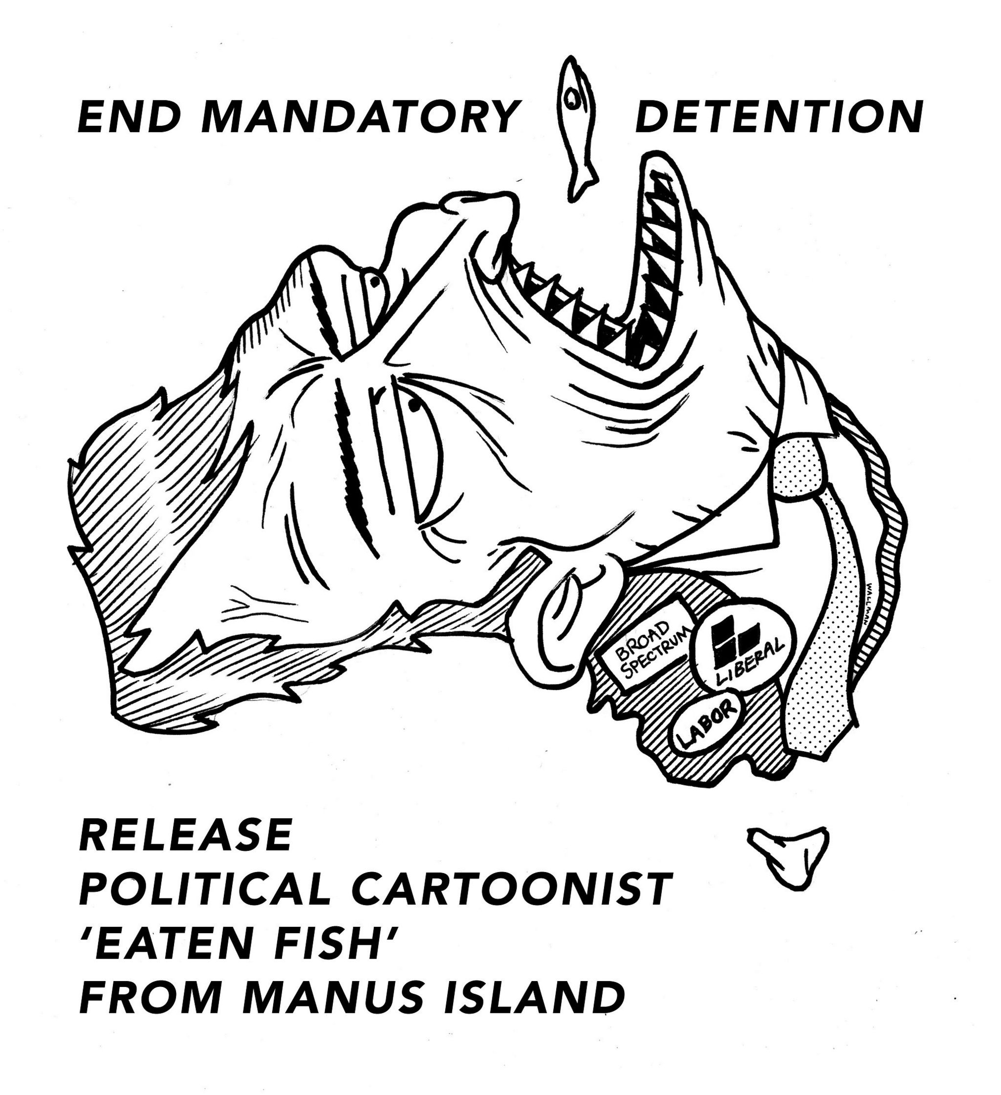 Sam Wallman's cartoon showing Australia, as a face, trying to eat a fish