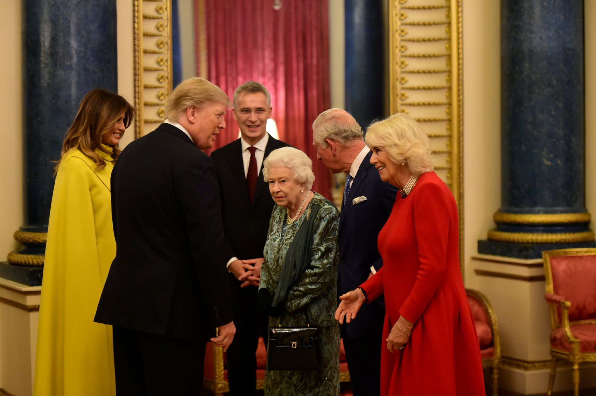 Donald and Melania Trump meet the Queen, alongside Prince Charles and the Duchess of Cornwall at Buckingham Palace