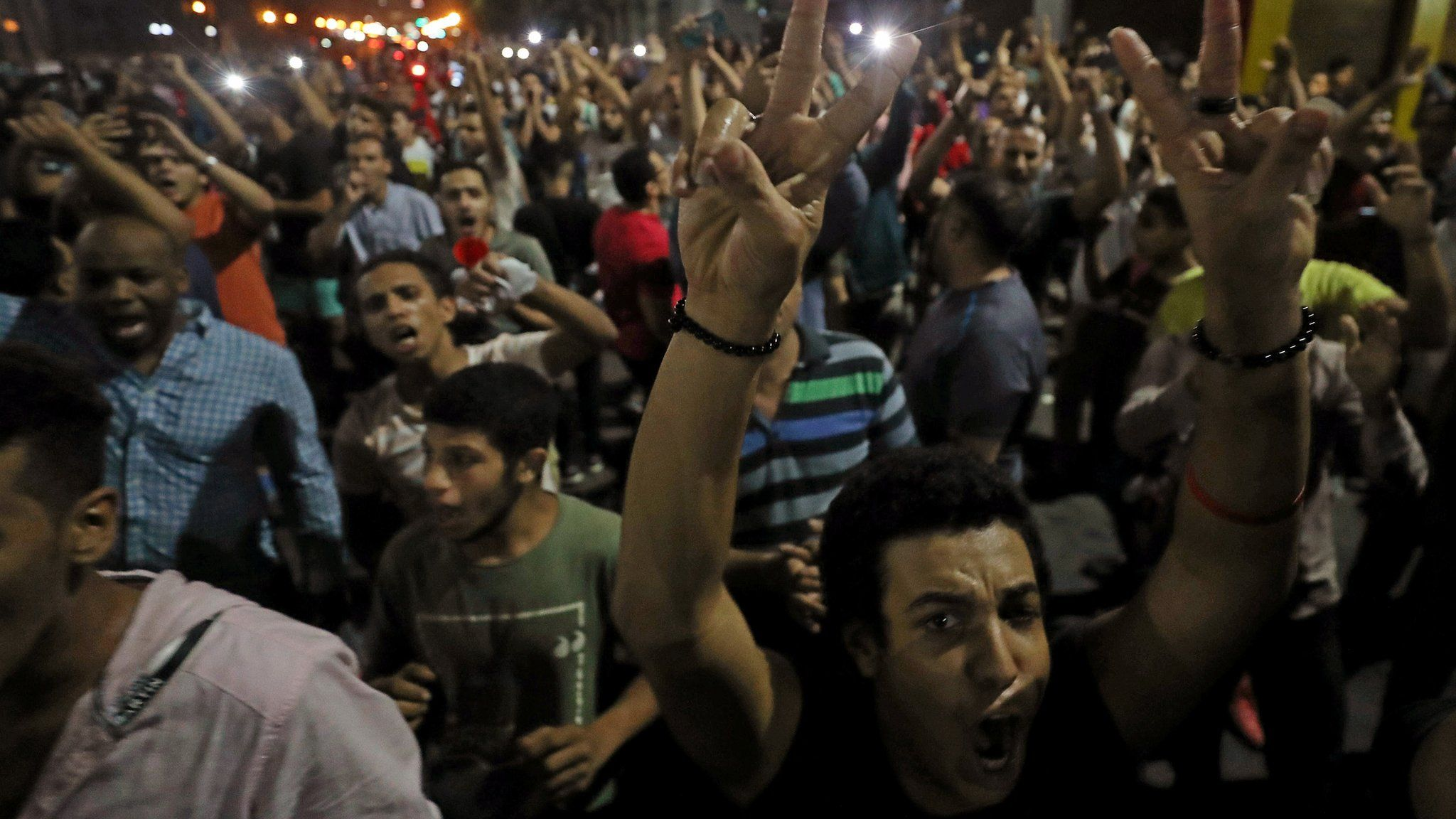 Anti-government protesters gather in central Cairo on 21 September 2019