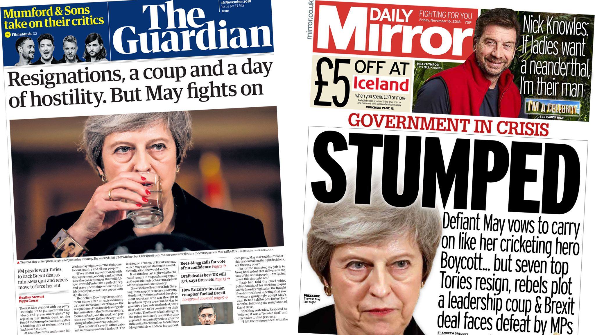 The Guardian and the Daily Mirror front pages