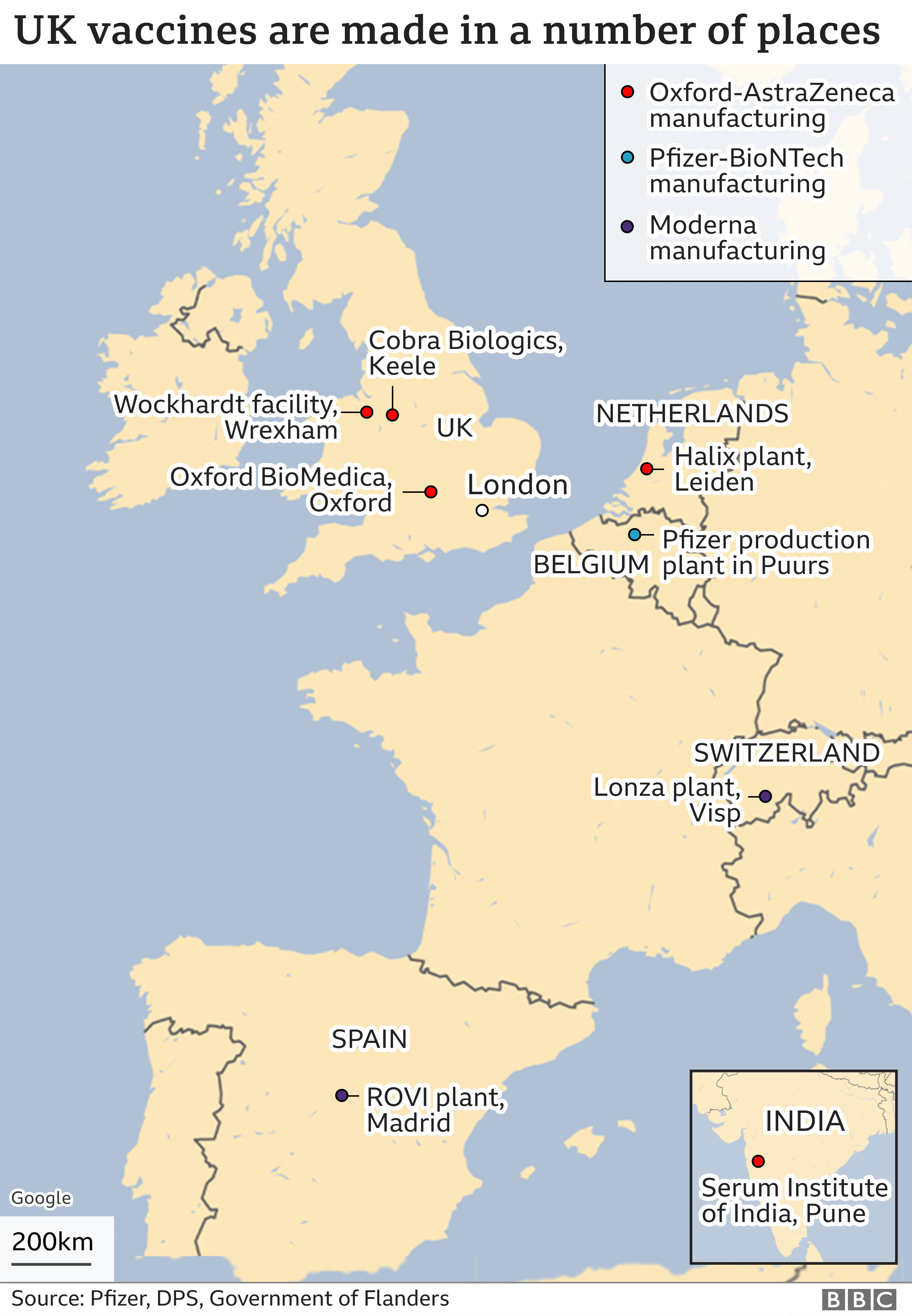Map showing where the vaccines are made across the UK, Europe and India
