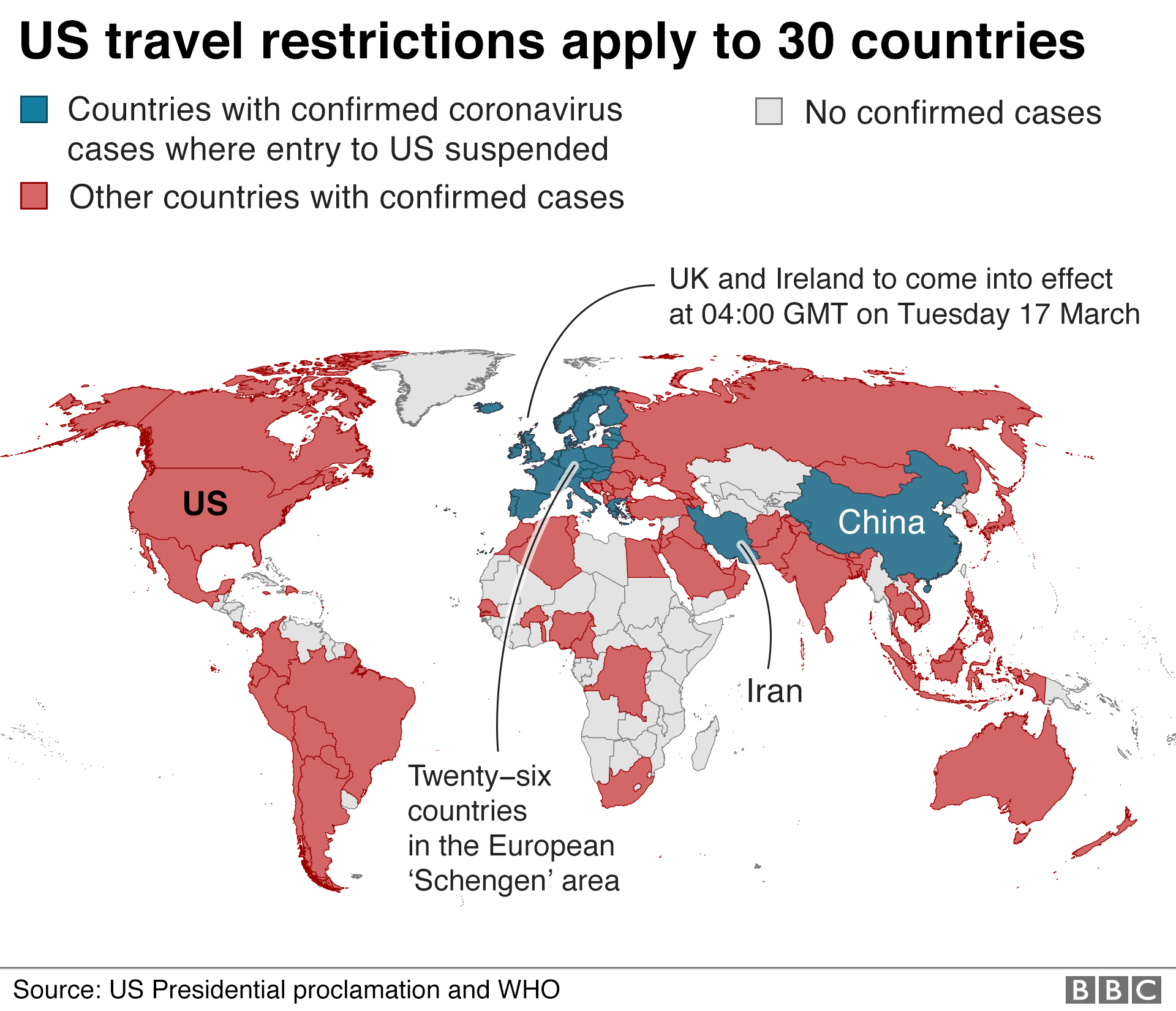 Map of US travel restrictions