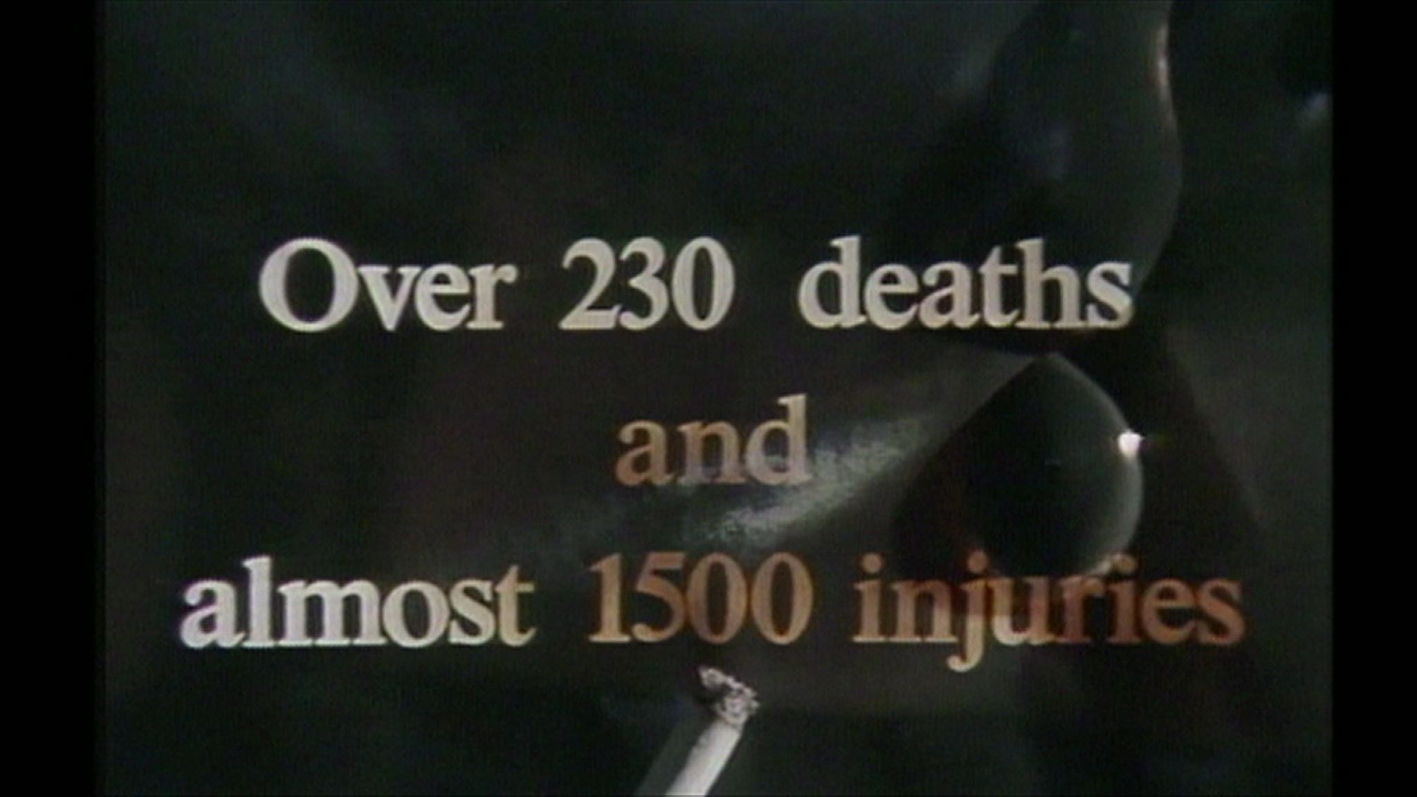 A still from a public information film on the human cost of fires caused by smoking