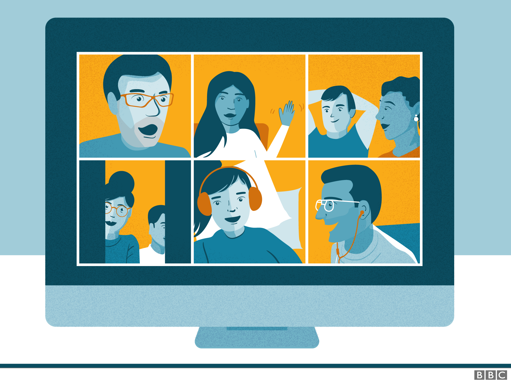 Illustration of an online video call with multiple people