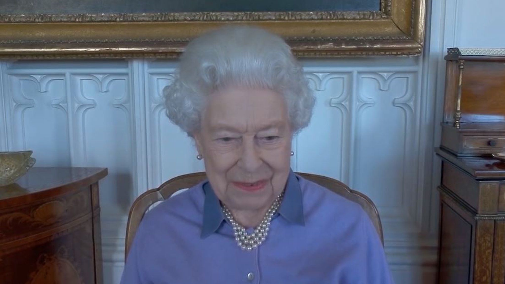 The Queen smiles during the virtual call last week