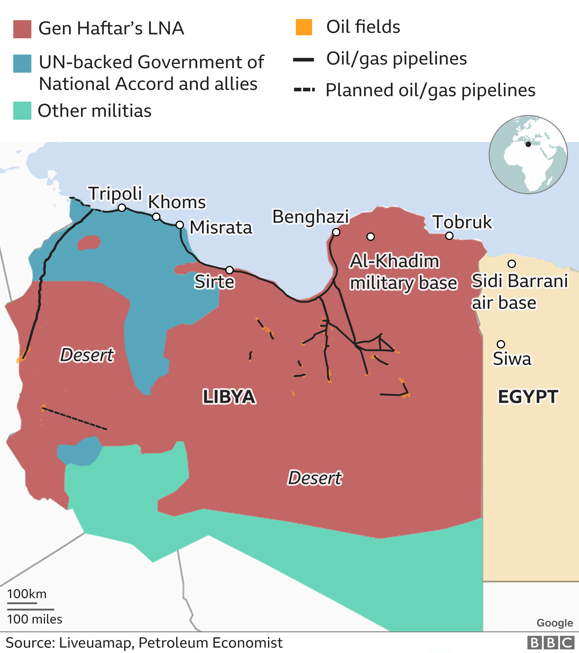 map showing areas of control in Libya