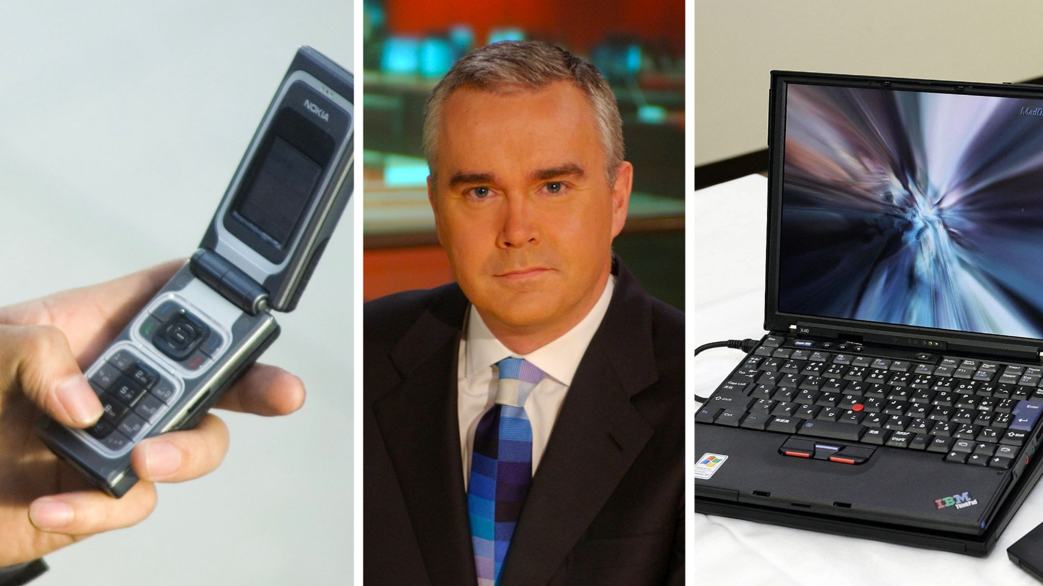 A mobile phone, Huw Edwards and laptop in 2005