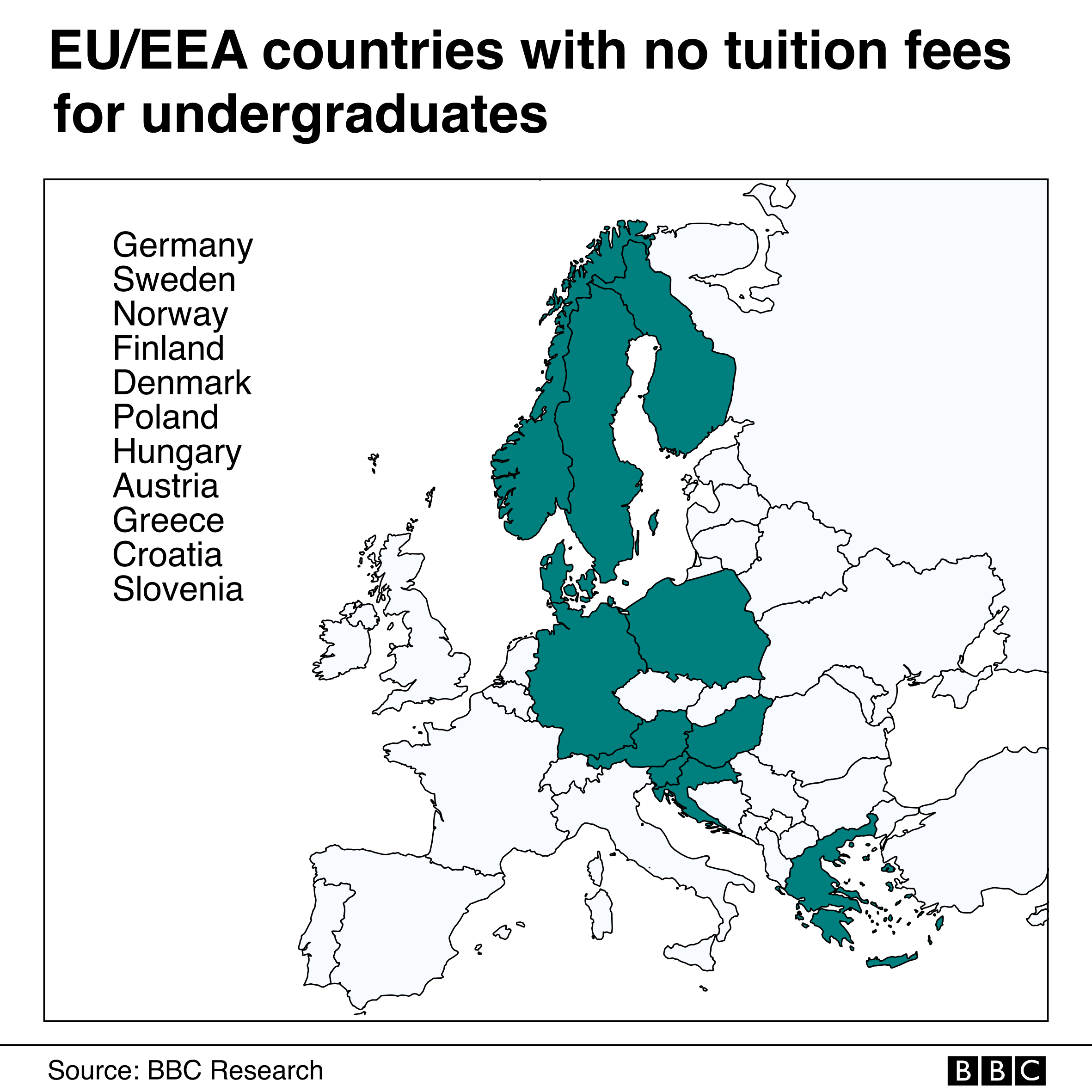 A map of Europe showing with 11 countries where undergraduate students do not pay any tuition fees
