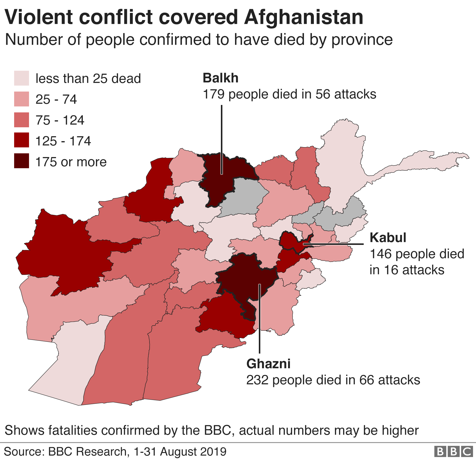 Map of total fatalities by province in August