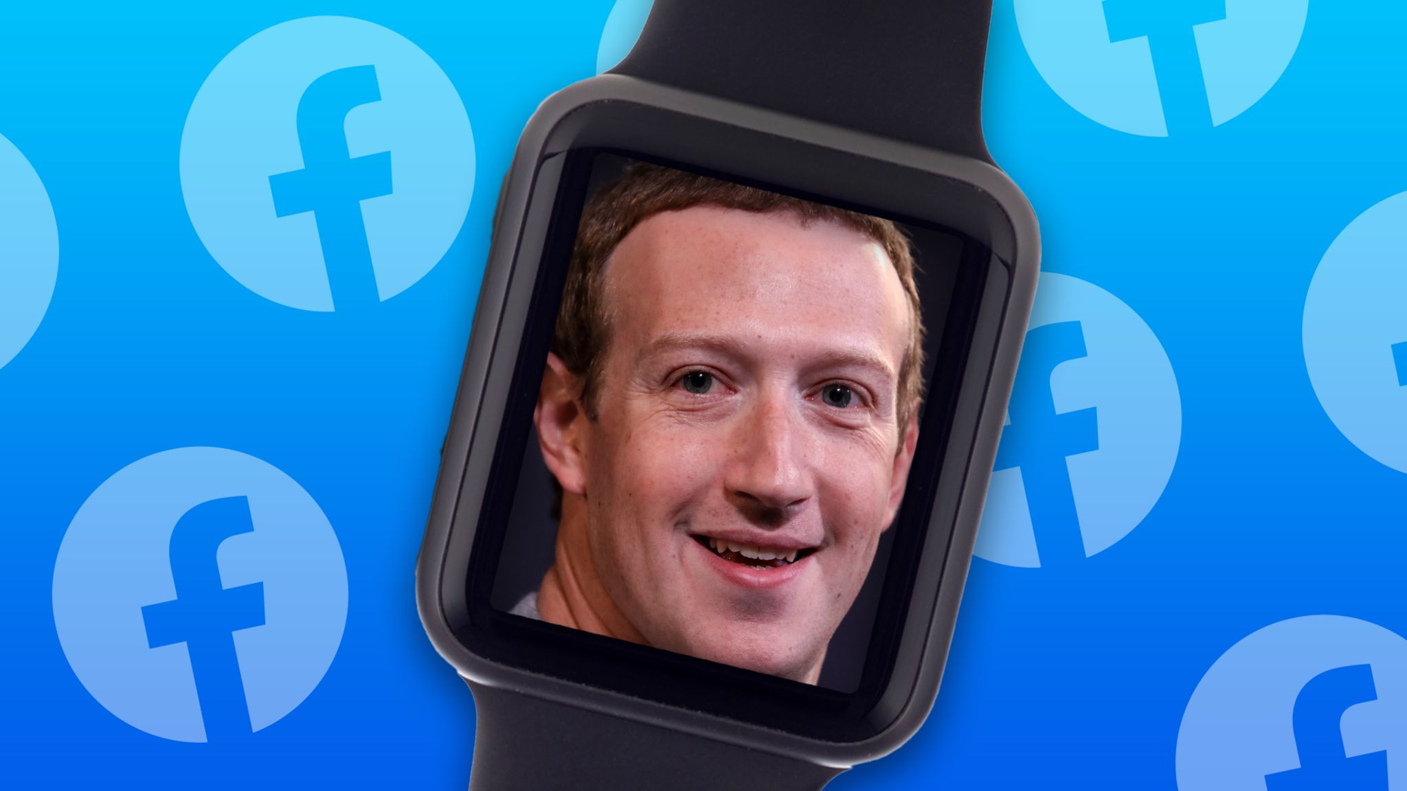 Mark Zuckerberg's photo is on the inside of a smartwatch against a blue background peppered with Facebook logos in this illustration