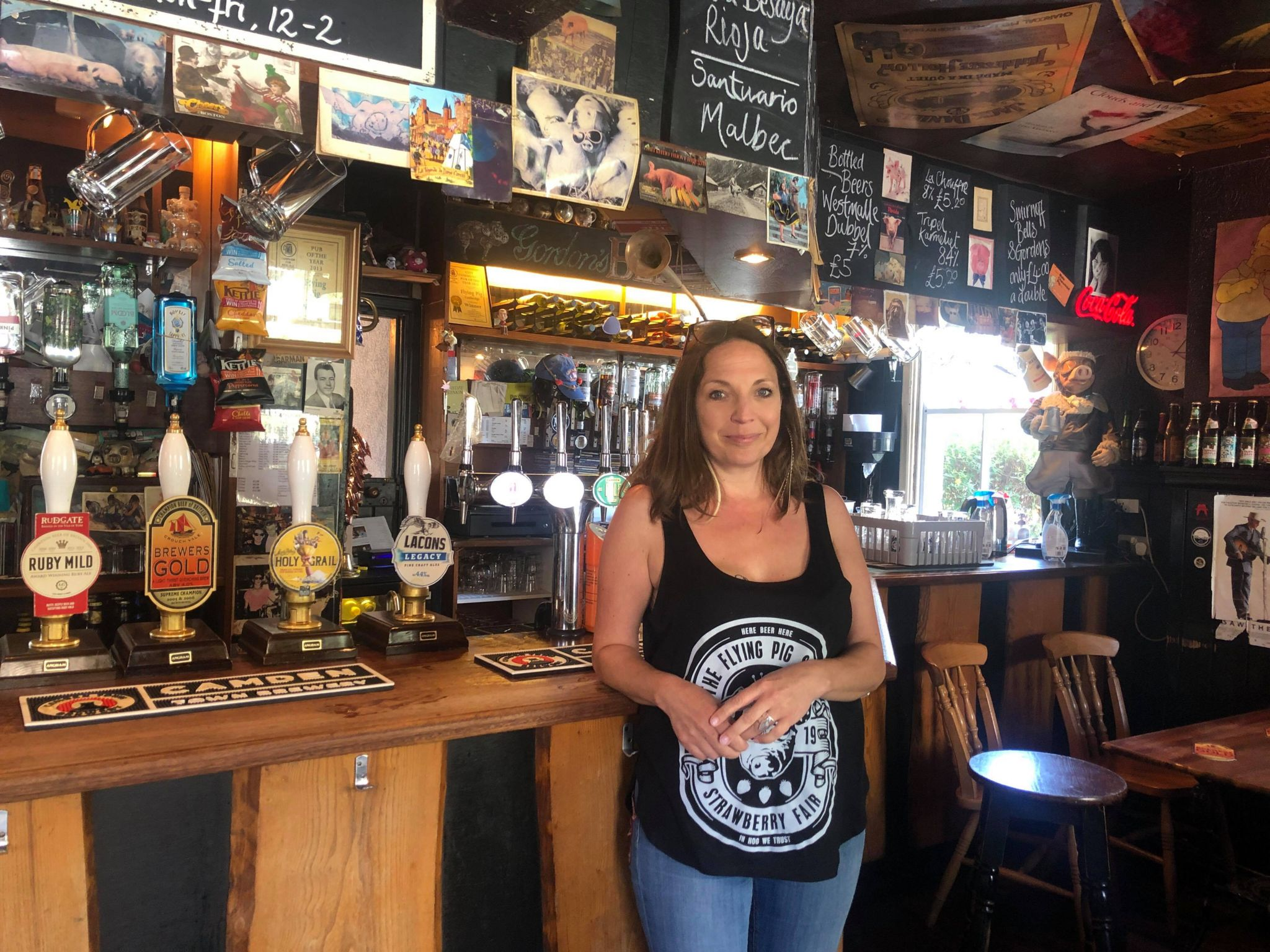 Justine Hatfield inside the Flying Pig which she runs with her husband, Matt.