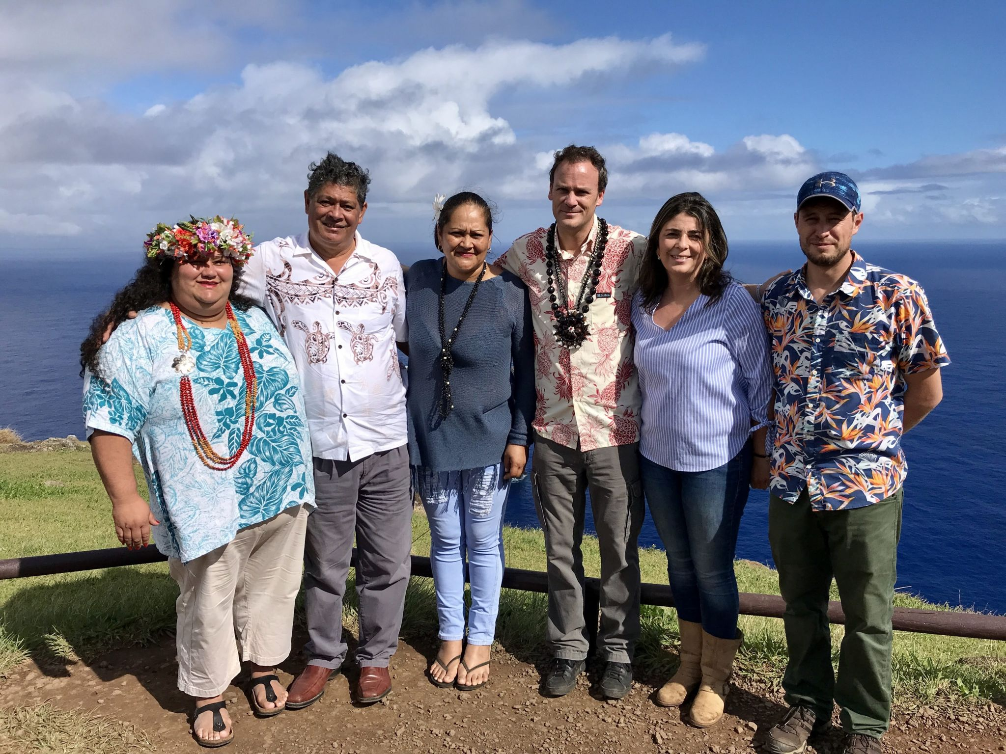 Anakena Manutomatoma (first from left) and Felipe Ward (third from right) pose for a photo on Rapa Nui