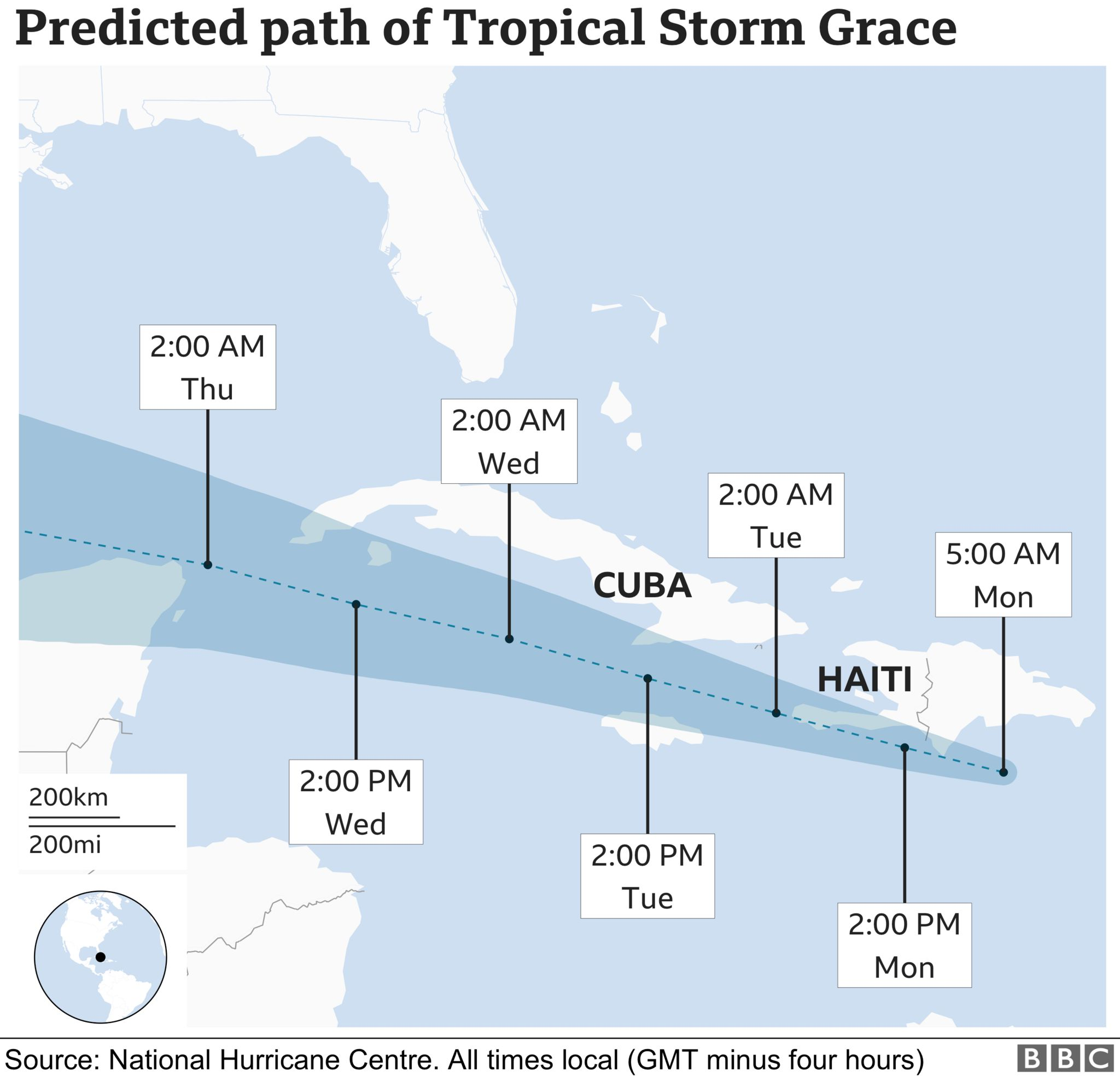 Graphic showing Grace's predicted path