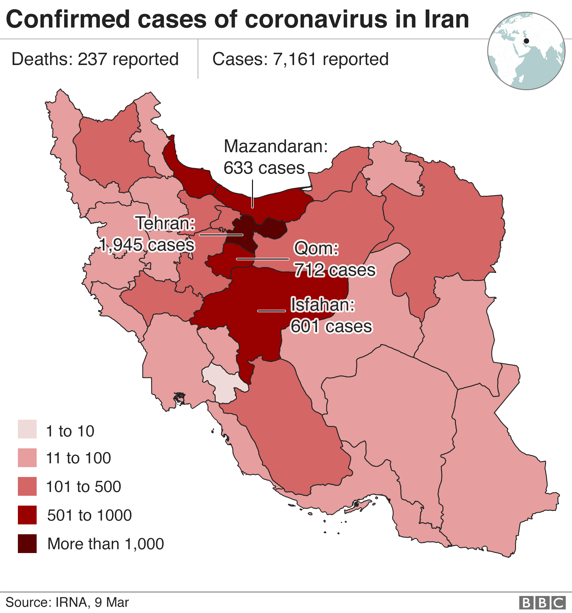 Map showing cases in Iran as of 9 March, with most in Tehran and the region of Qom