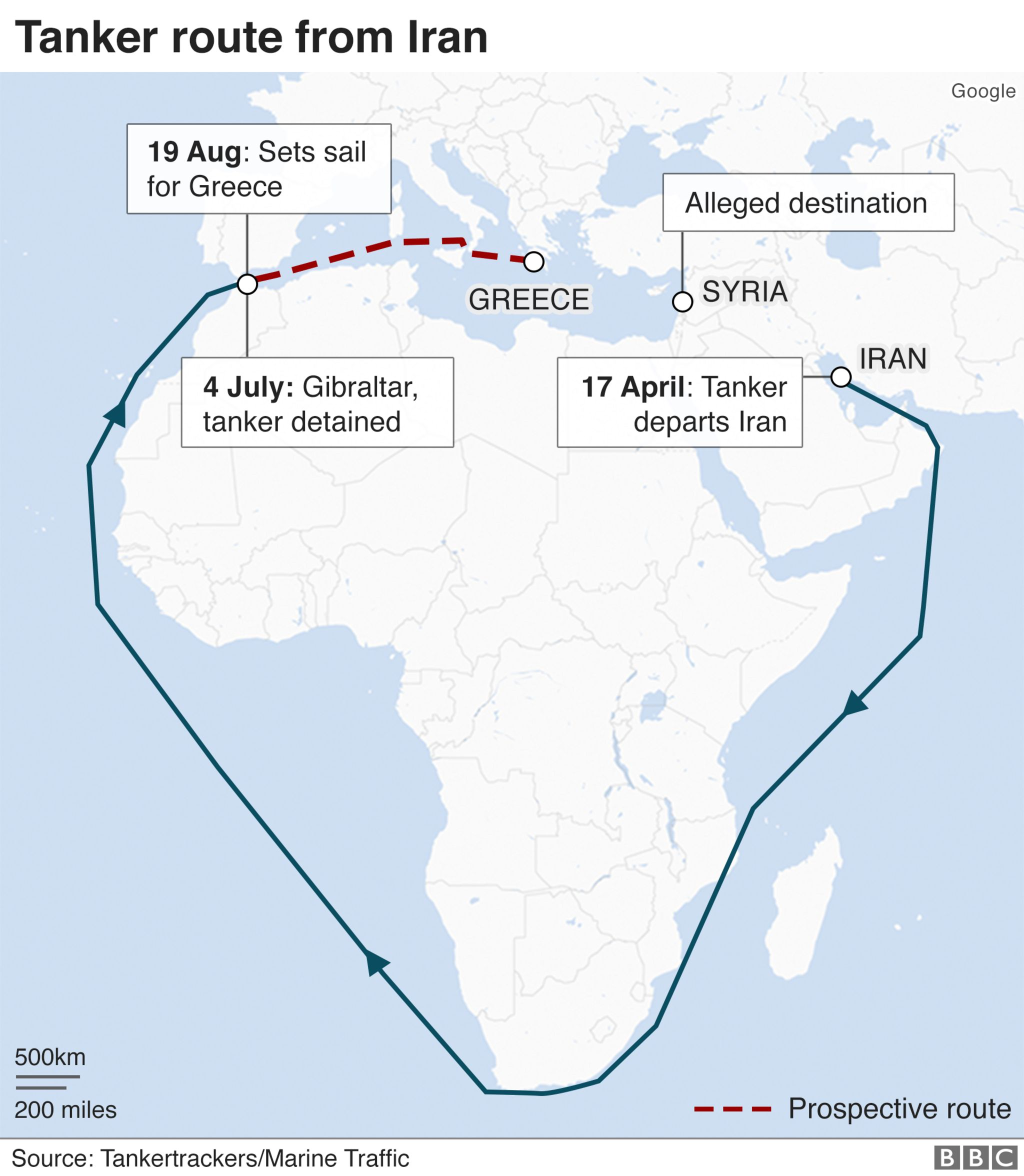 A map showing the route of an Iranian oil tanker detained in Gibraltar