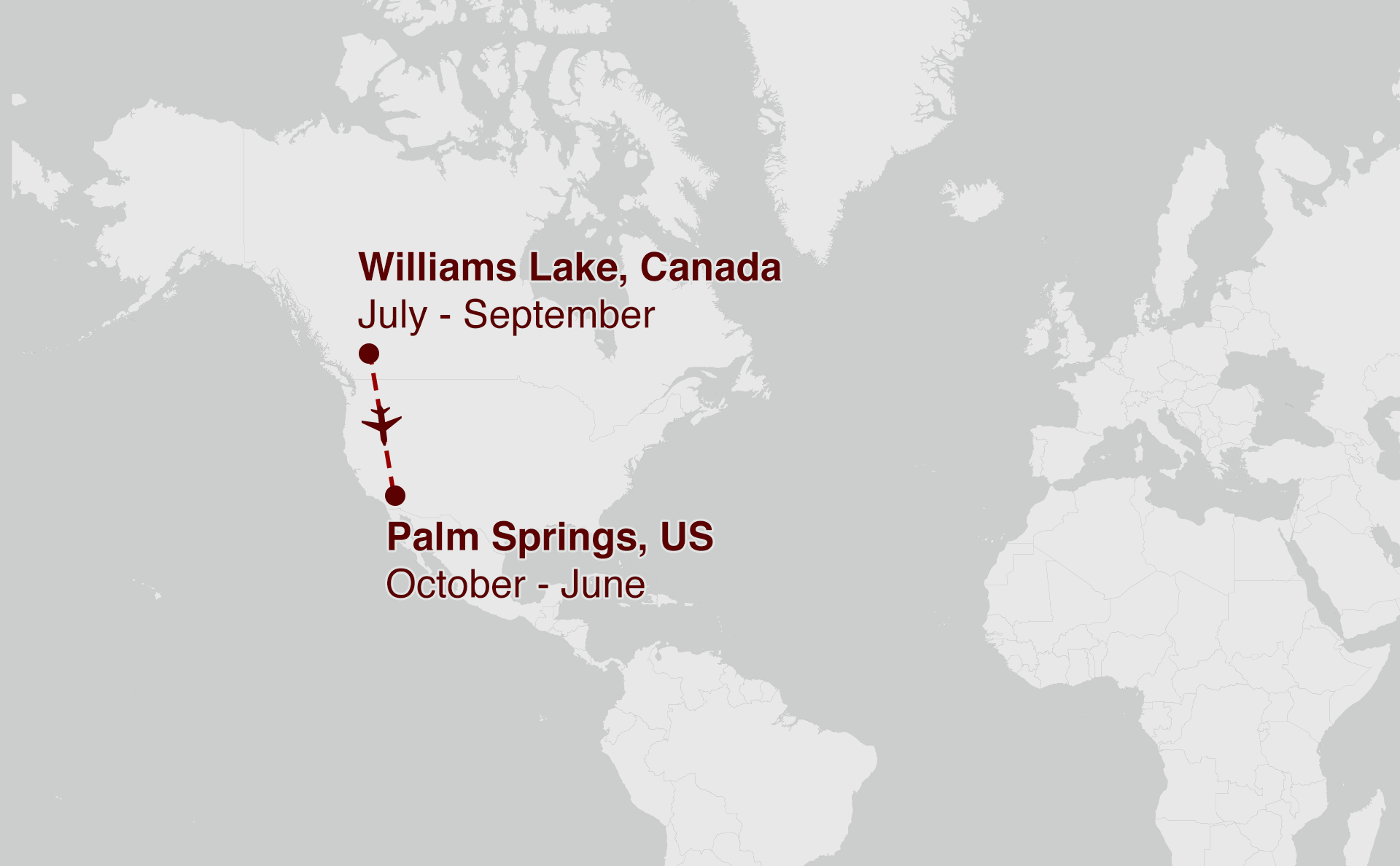Map showing Palm Springs to Williams Lake