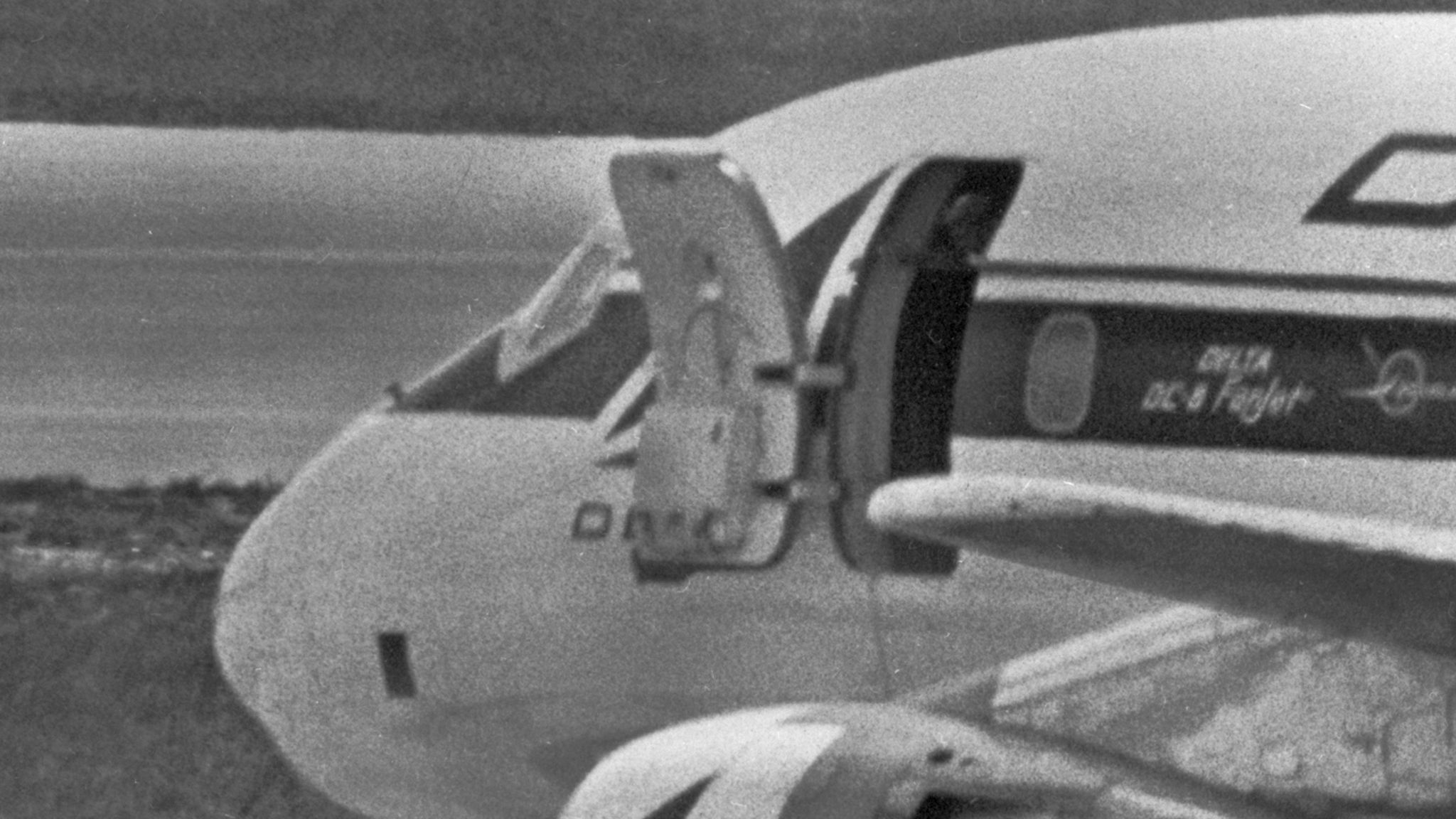 Melvin McNair at the door of the Delta airlines DC8 on 31 July 1972