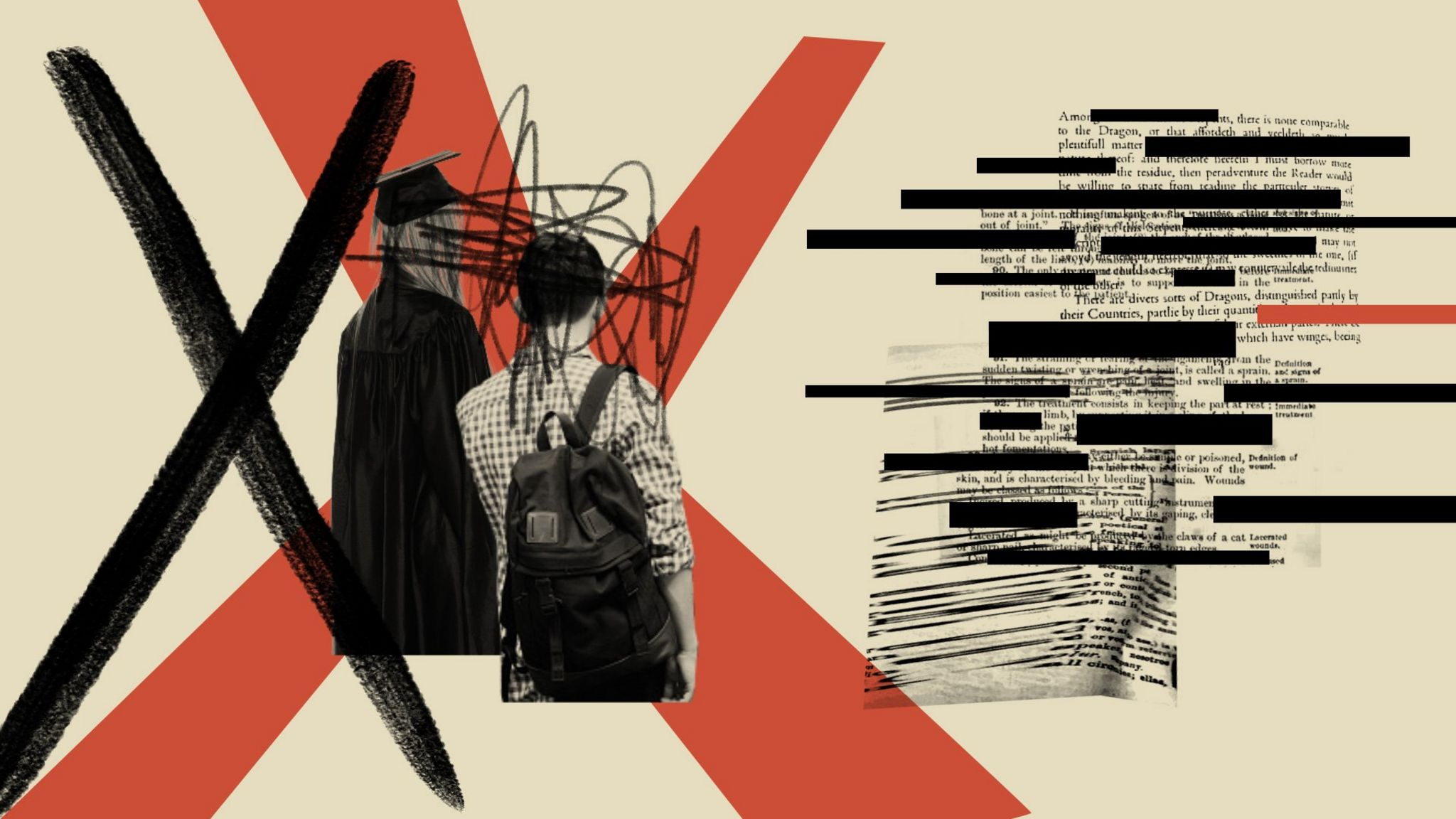 illustration of backs of students next to censored text