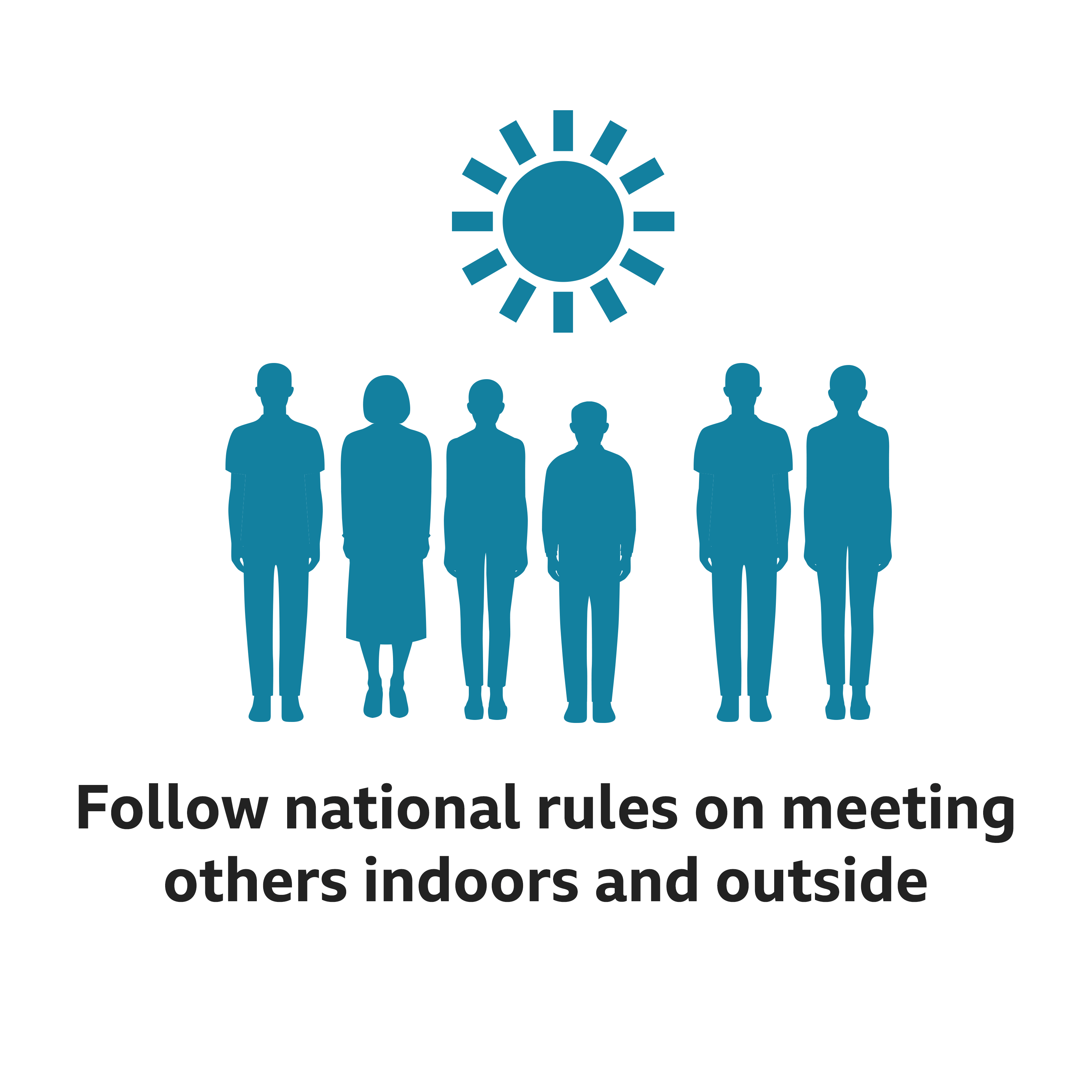 Follow rules about meeting people indoors and outdoors