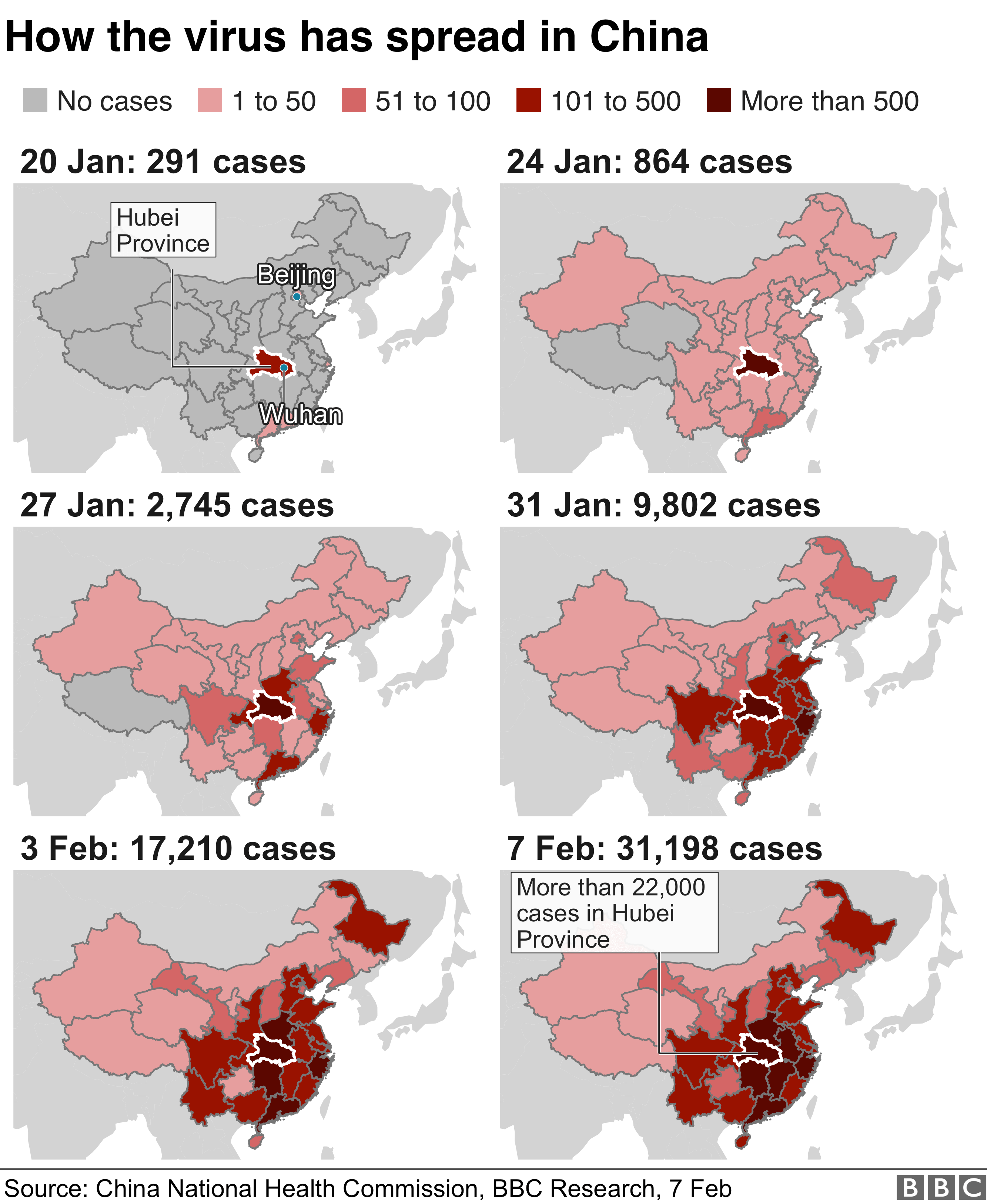 Graphic showing how the virus spread inside China