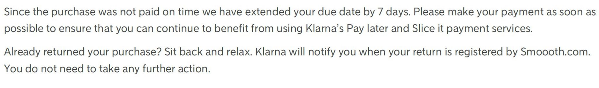 Klarna late payment notice letter