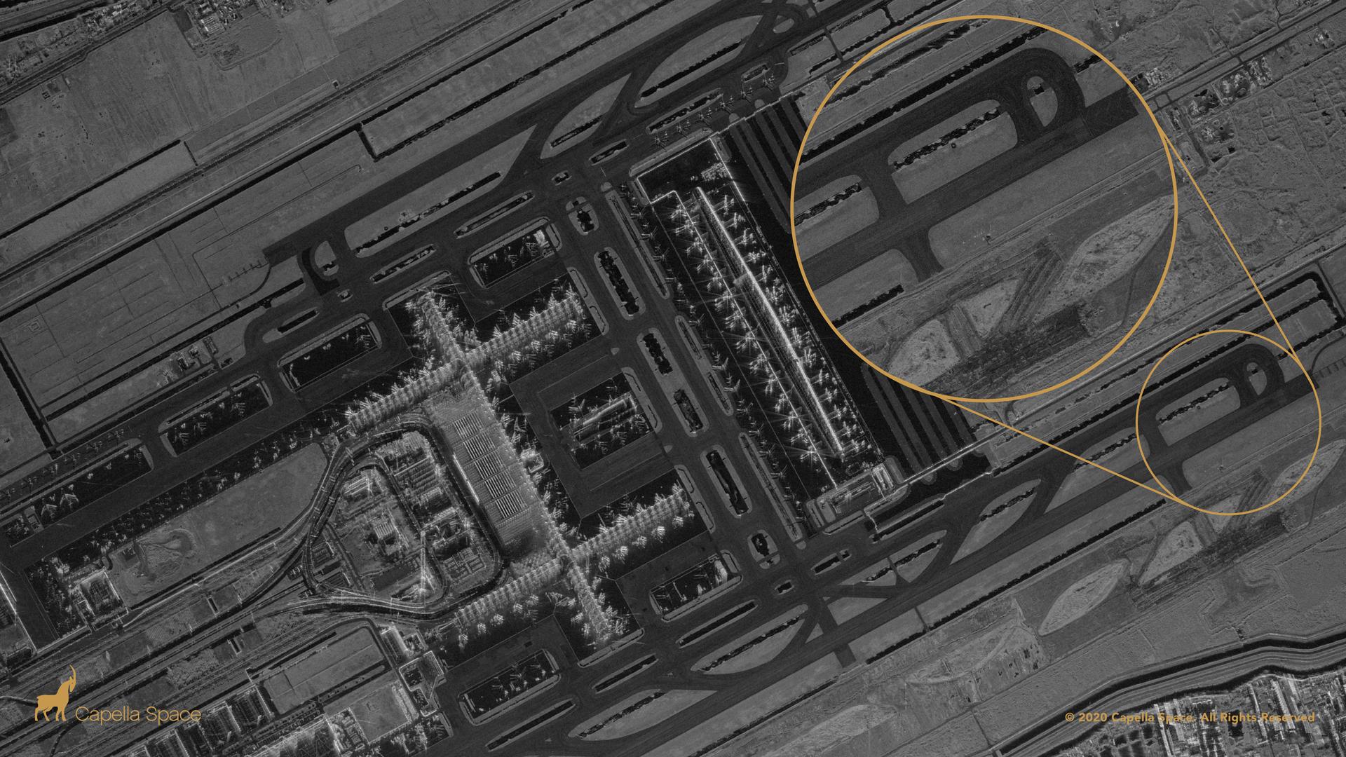 Suvarnabhumi Airport, Thailand: Smooth surfaces like runways appear dark to radar