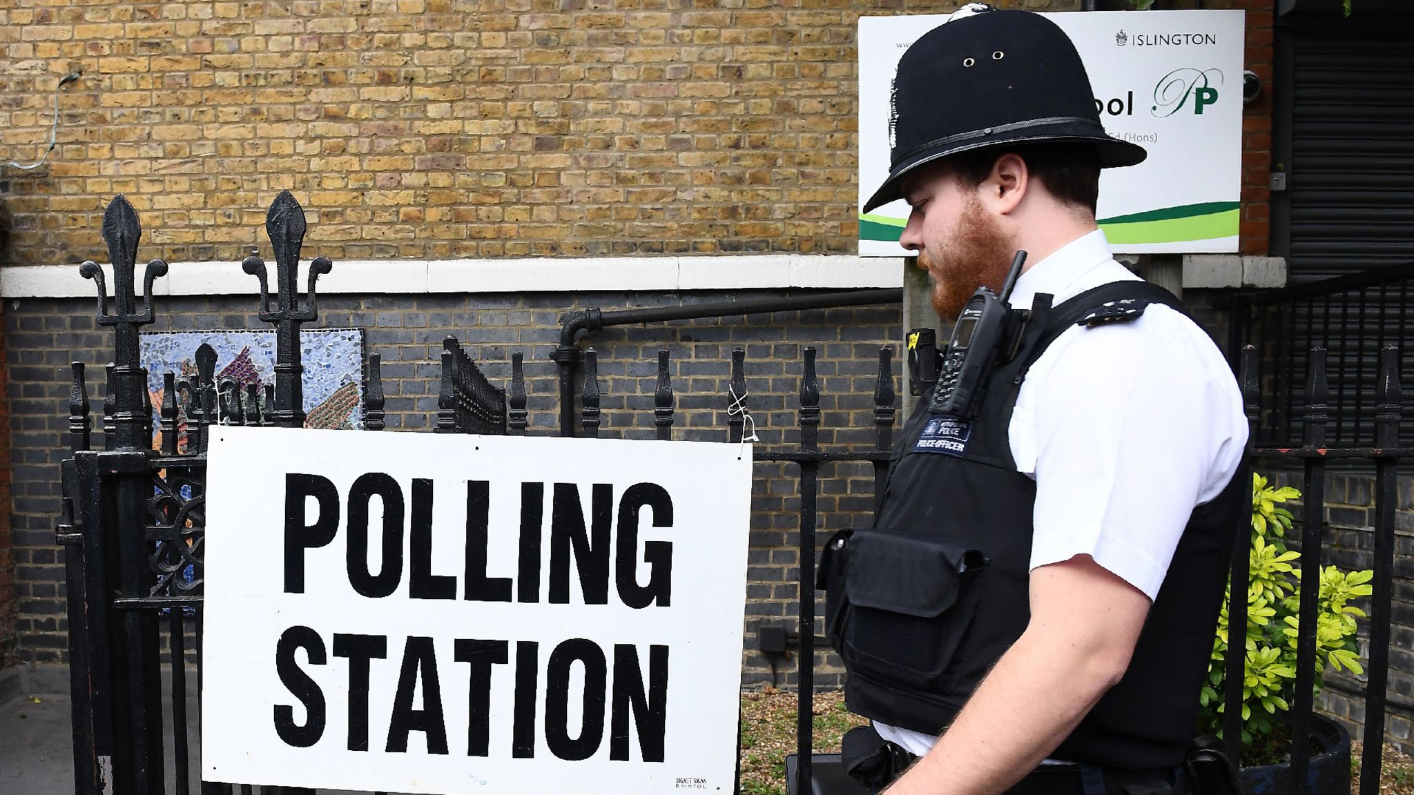 Police officer at a polling station