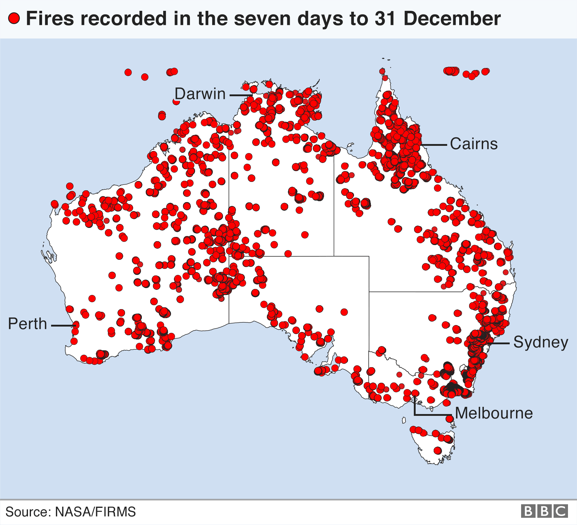 Map of Australia fires recorded as active in the seven days up to 31 December 2019