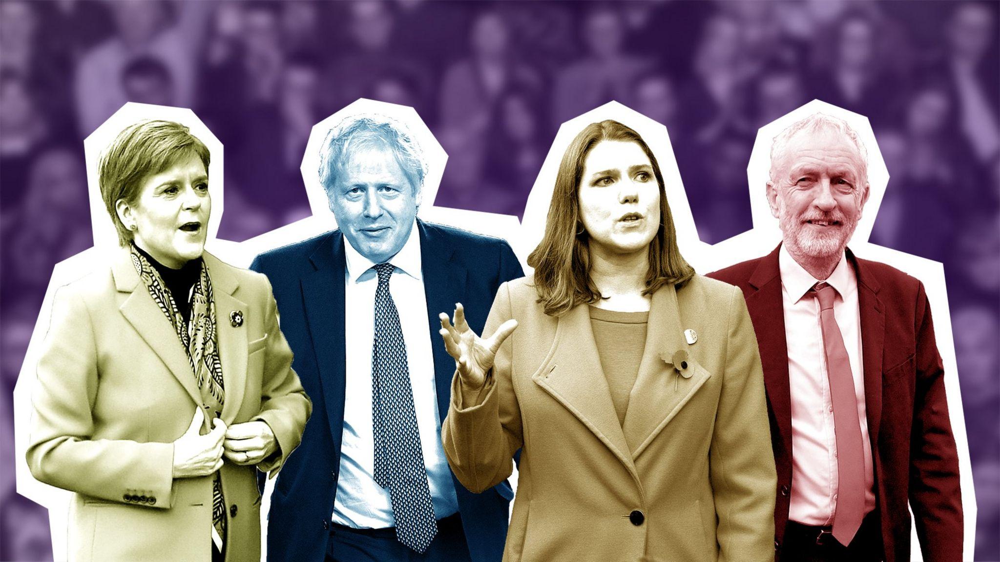 Party leaders Nicola Swinson, Boris Johnson, Jo Swinson and Jeremy Corbyn