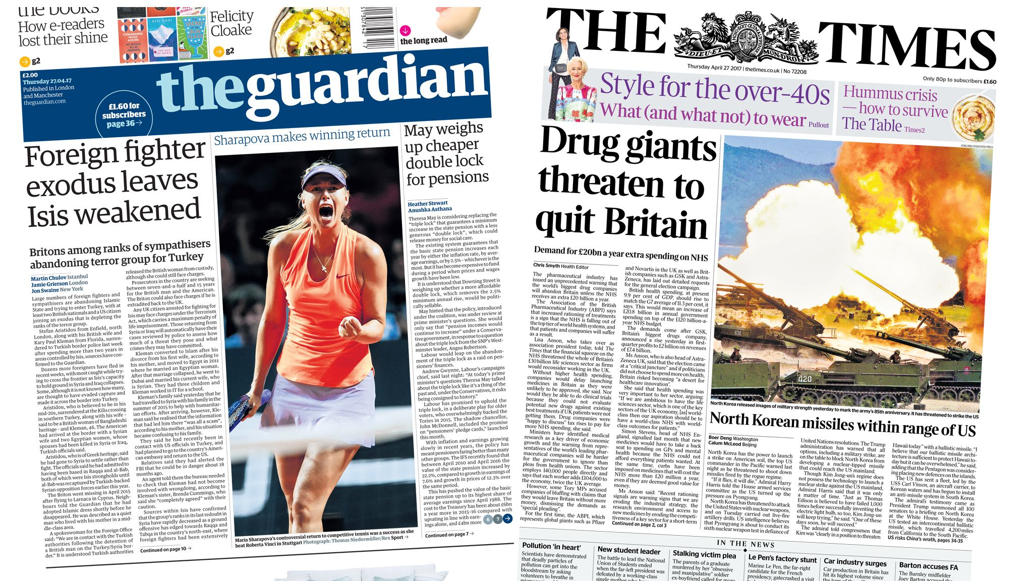 Guardian and Times front pages for 27/04/17