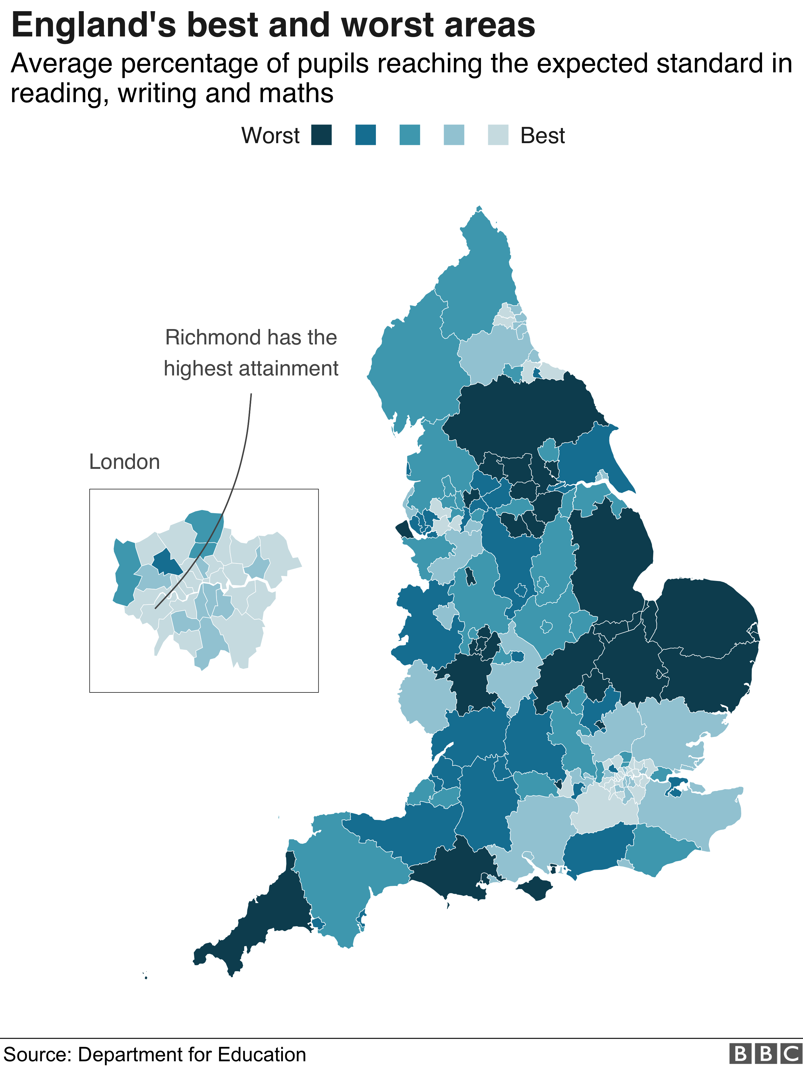 Map showing attainment across England