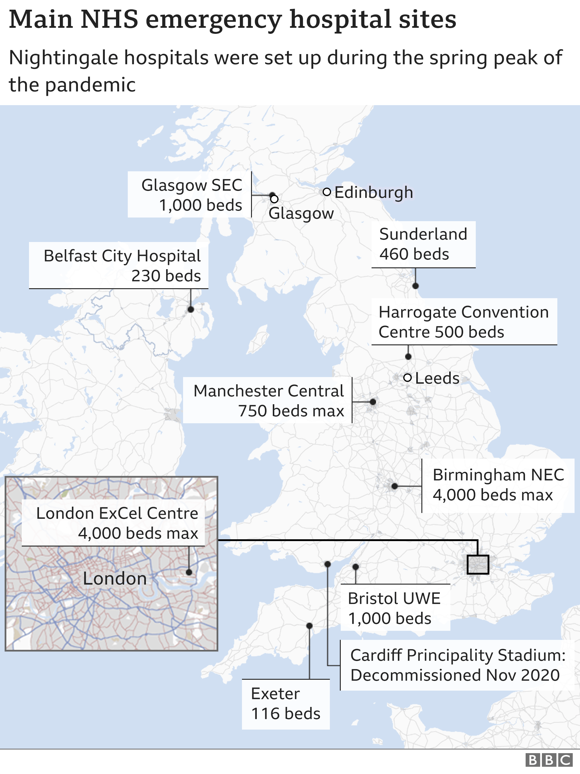 Map showing location of emergency hospitals around the UK