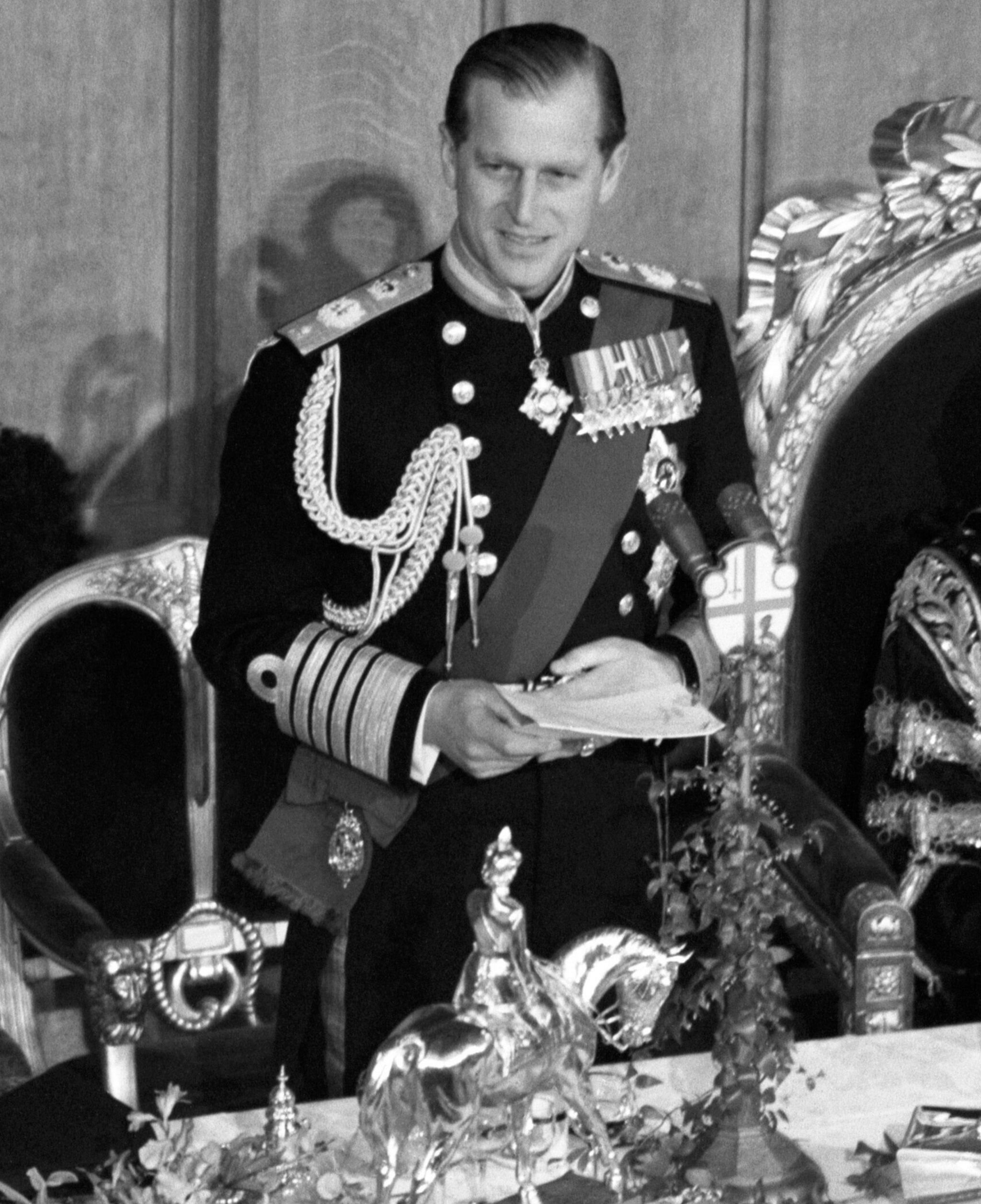 Prince Philip gives a speech at a luncheon
