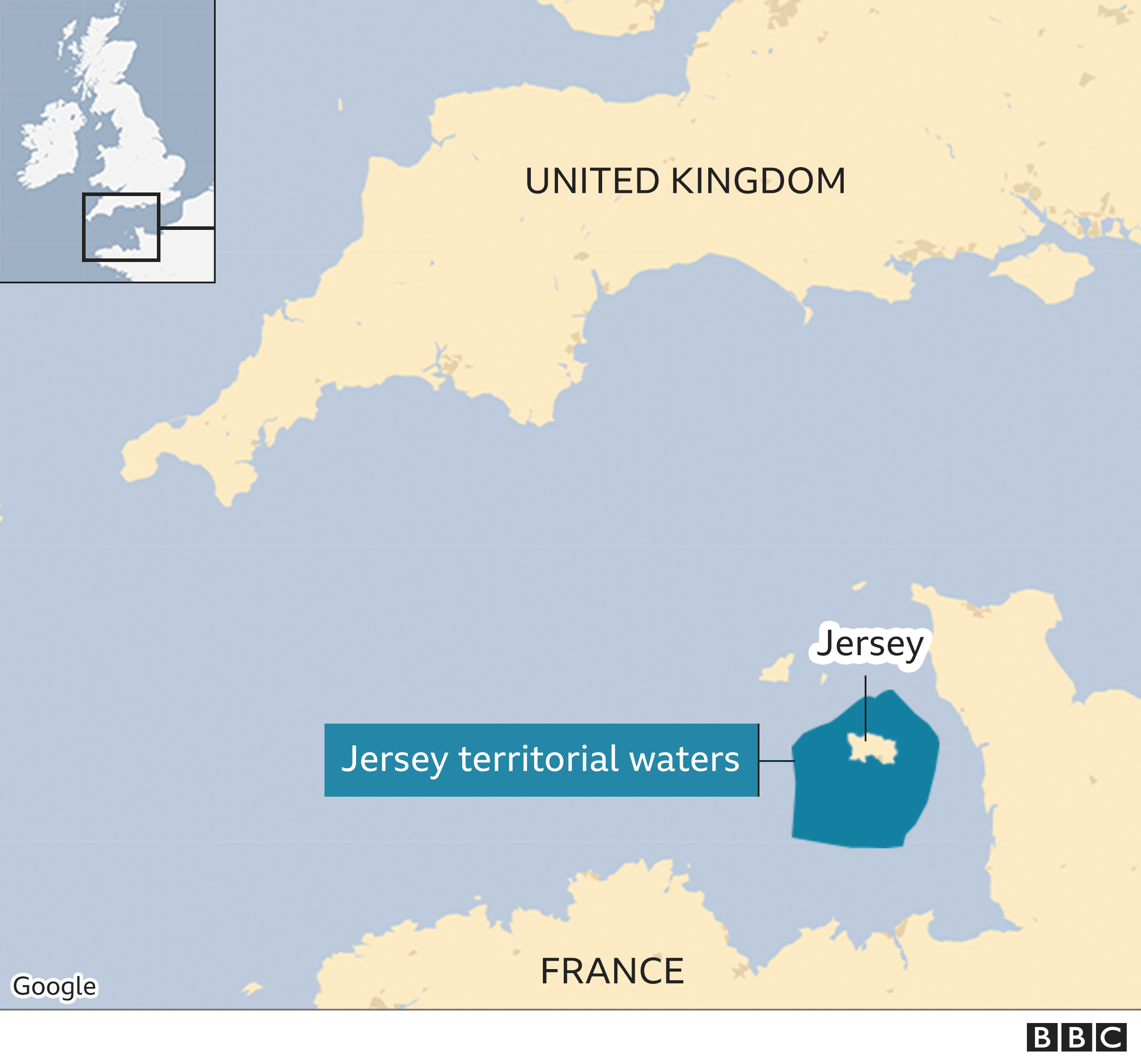 map of channel islands showing Jersey territorial waters