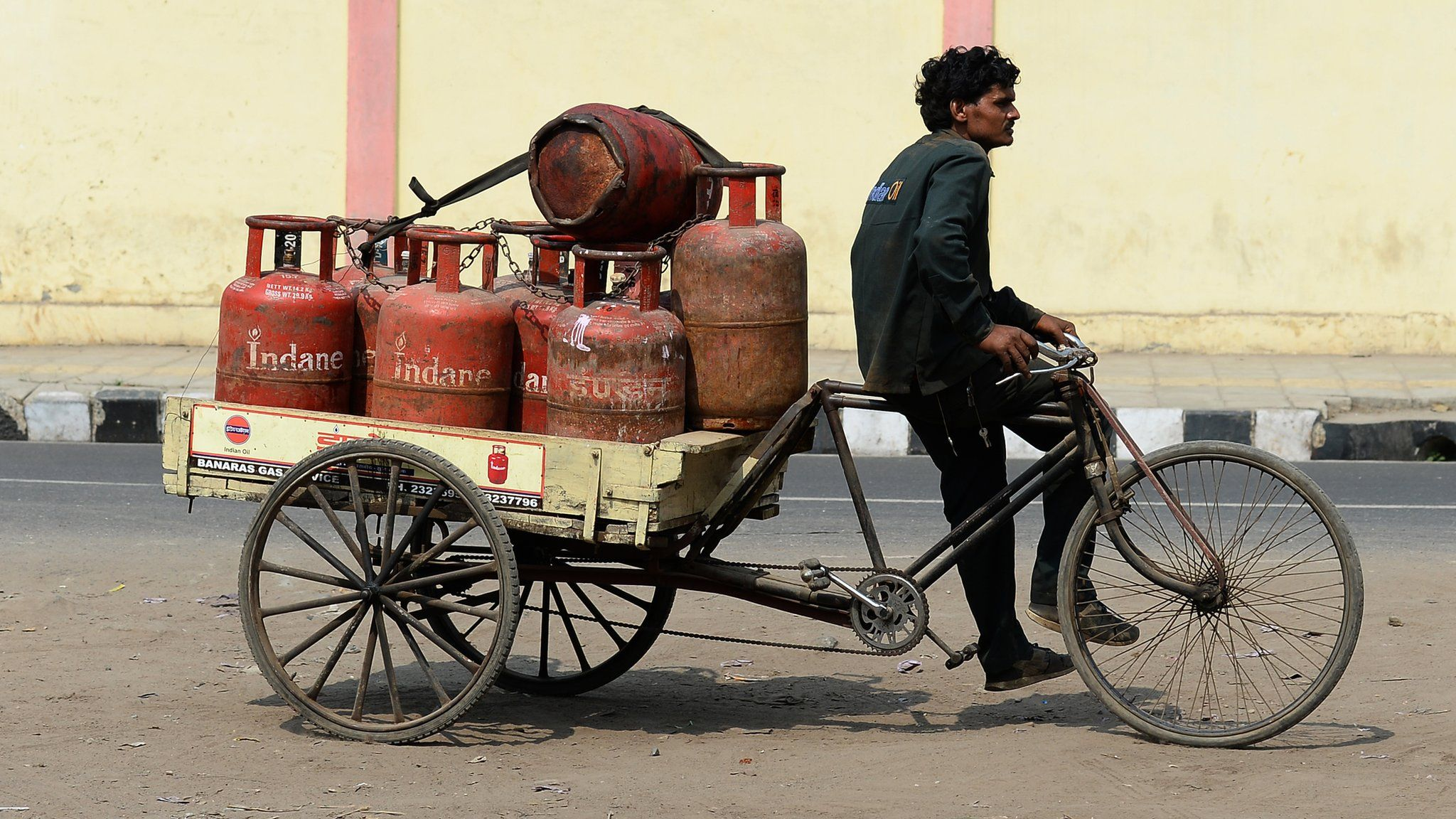 Gas cylinders on a delivery bicycle