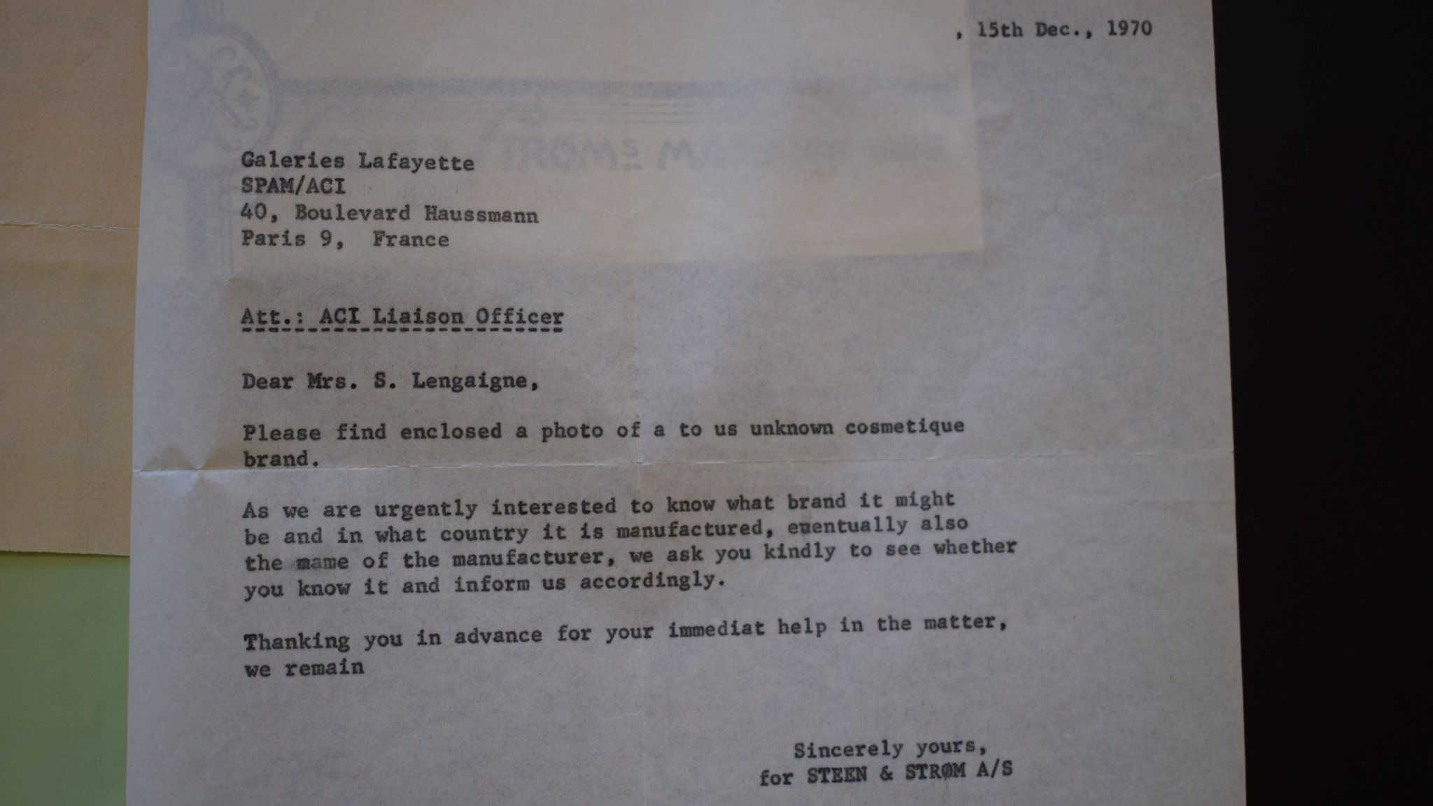 A letter from Norwegian police to Galeries Lafayette