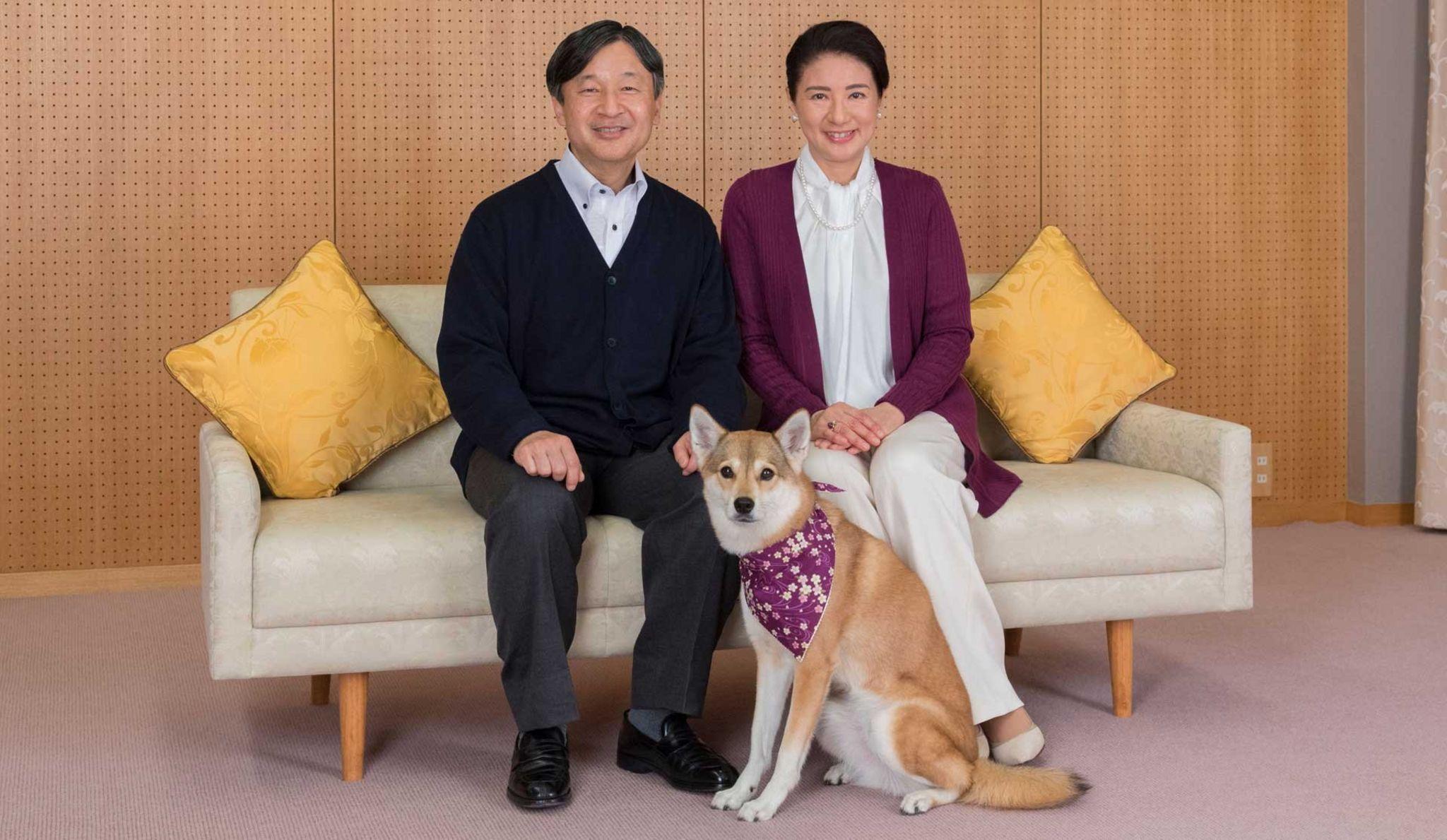 Prince Naruhito and Princess Masako with their pet dog Yuri