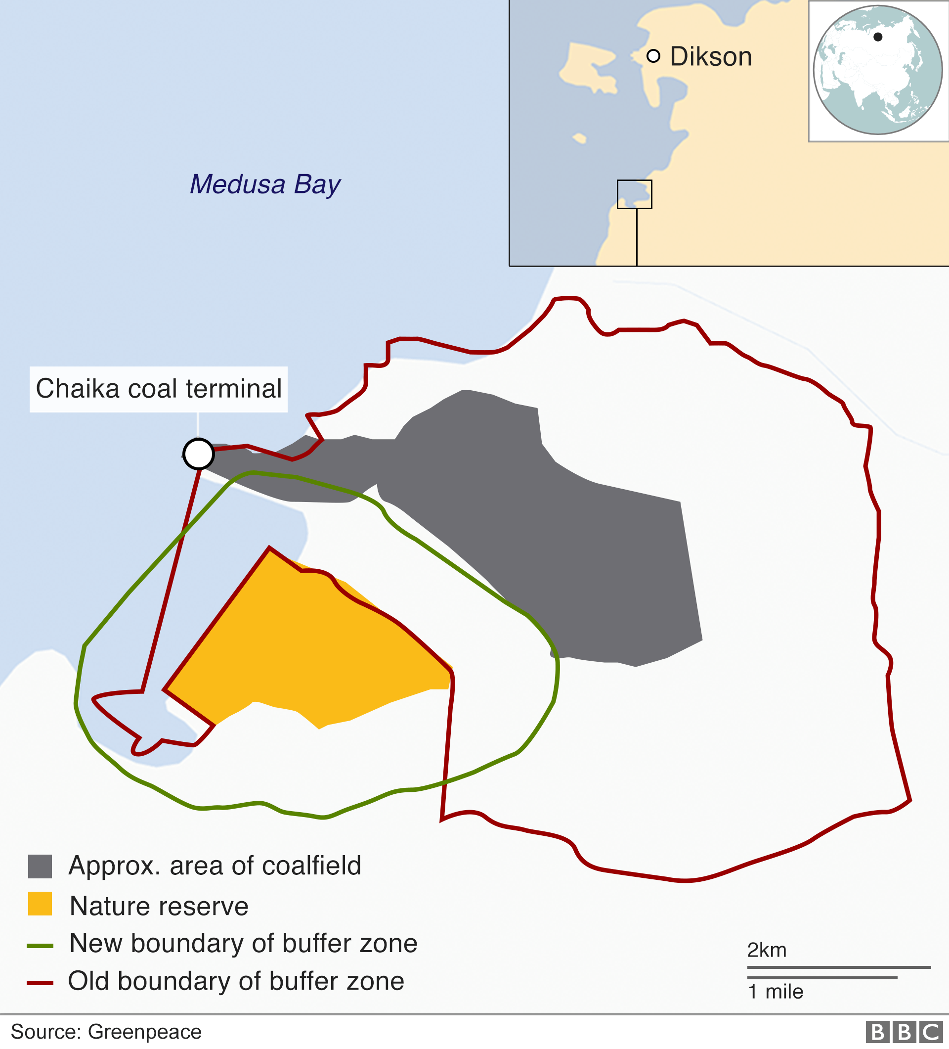 Map showing Medusa Bay coalfield and nature reserve, courtesy of Greenpeace
