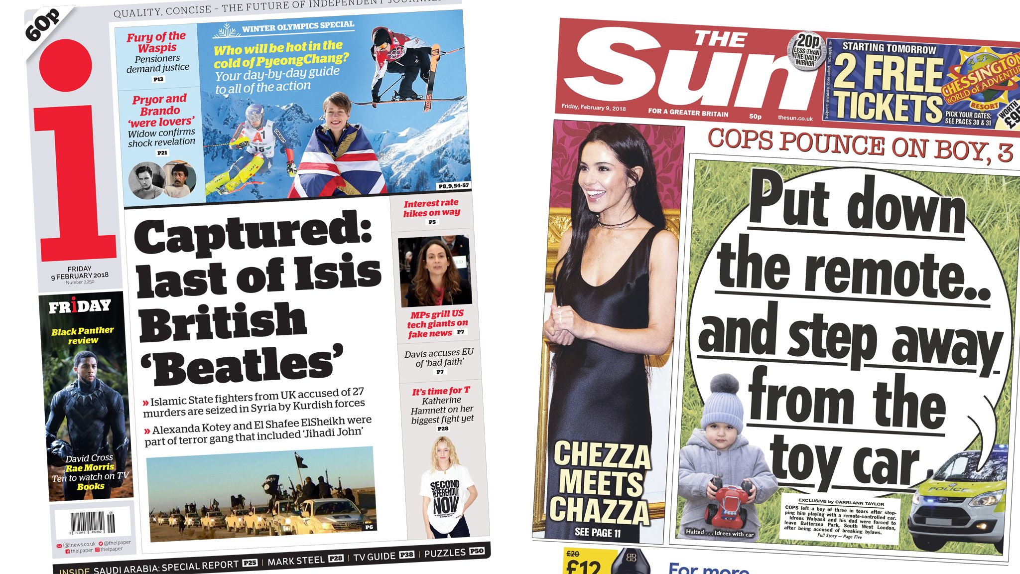 i and Sun front pages for 09/02/18