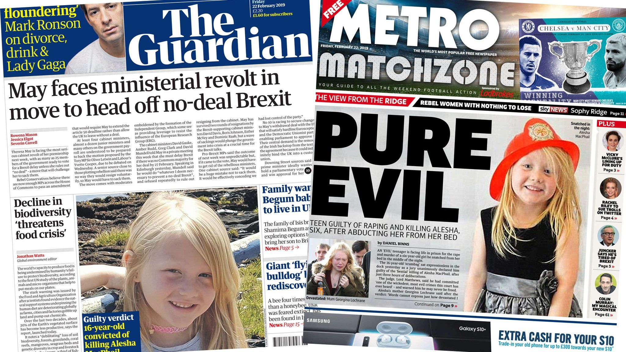 Guardian and the Metro front pages