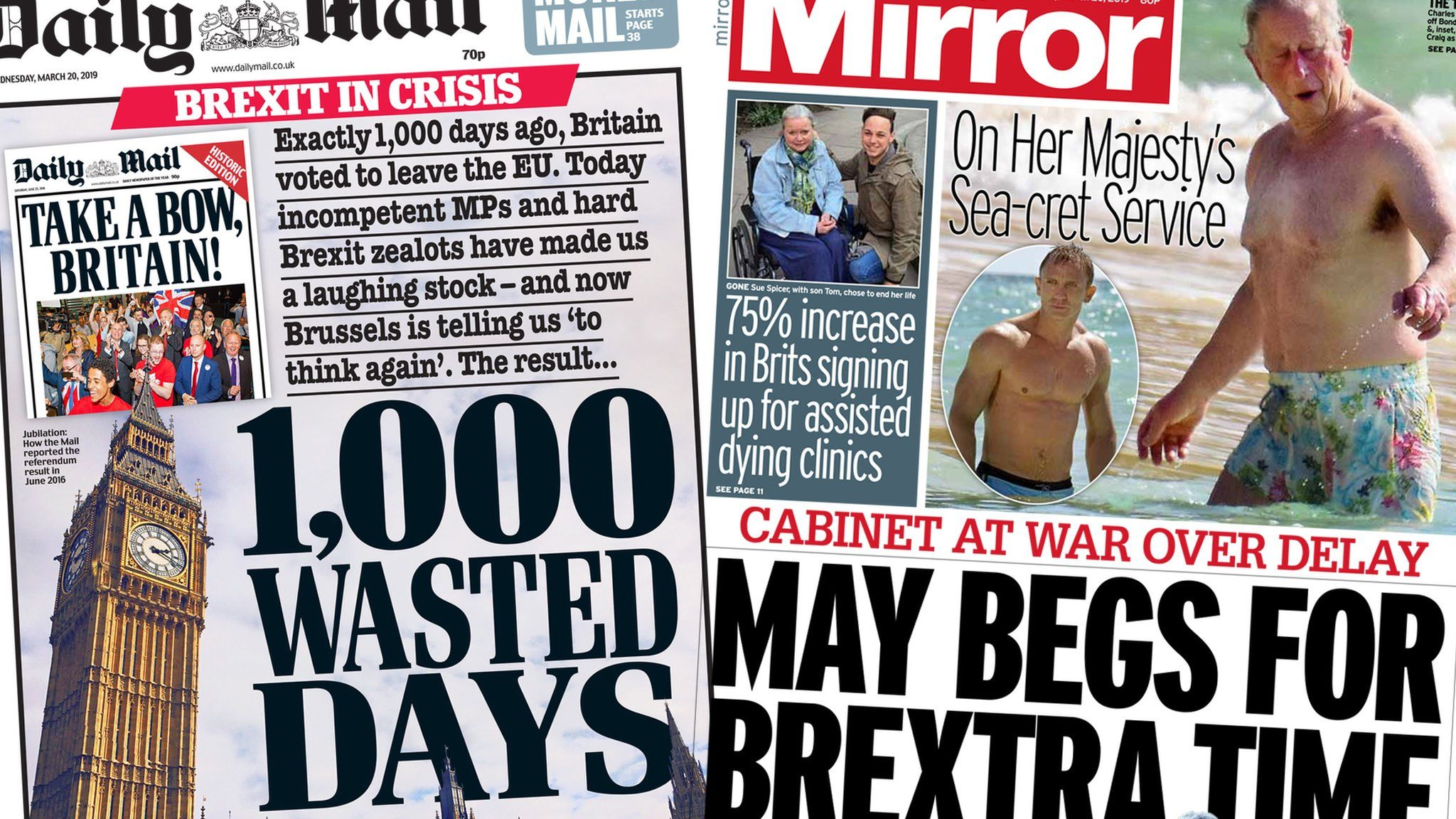 The Daily Mail and Mirror Wednesday 20 March