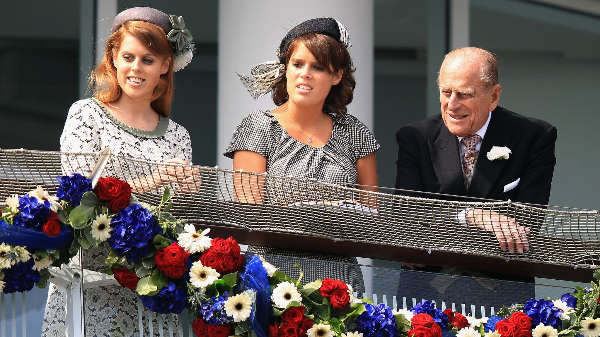 Princess Beatrice, Princess Eugenie and Prince Philip, Duke of Edinburgh at the Derby Festival in 2012